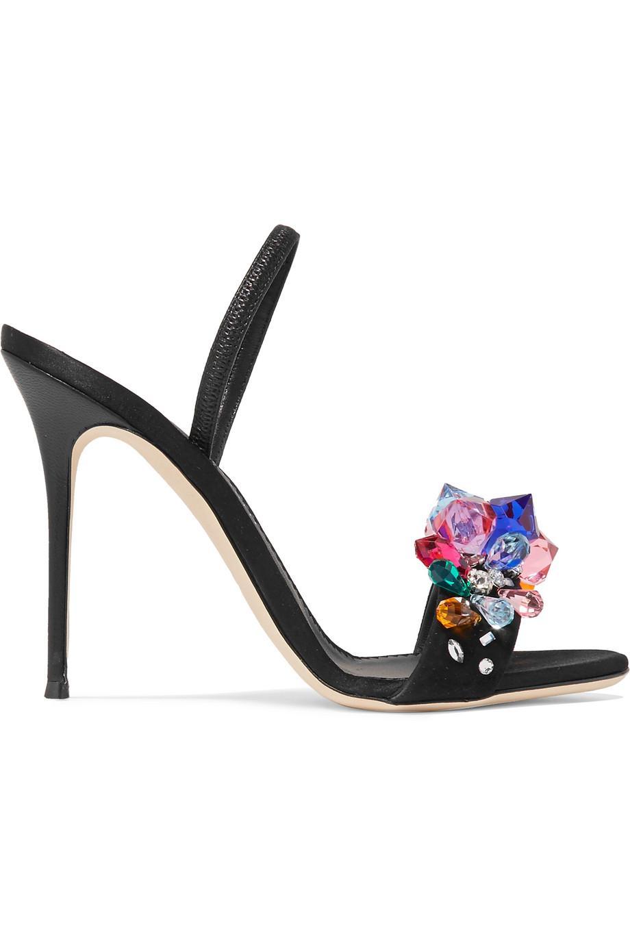 Mistico Crystal-embellished Satin Slingback Sandals - Black Giuseppe Zanotti TtpSSOz4wd
