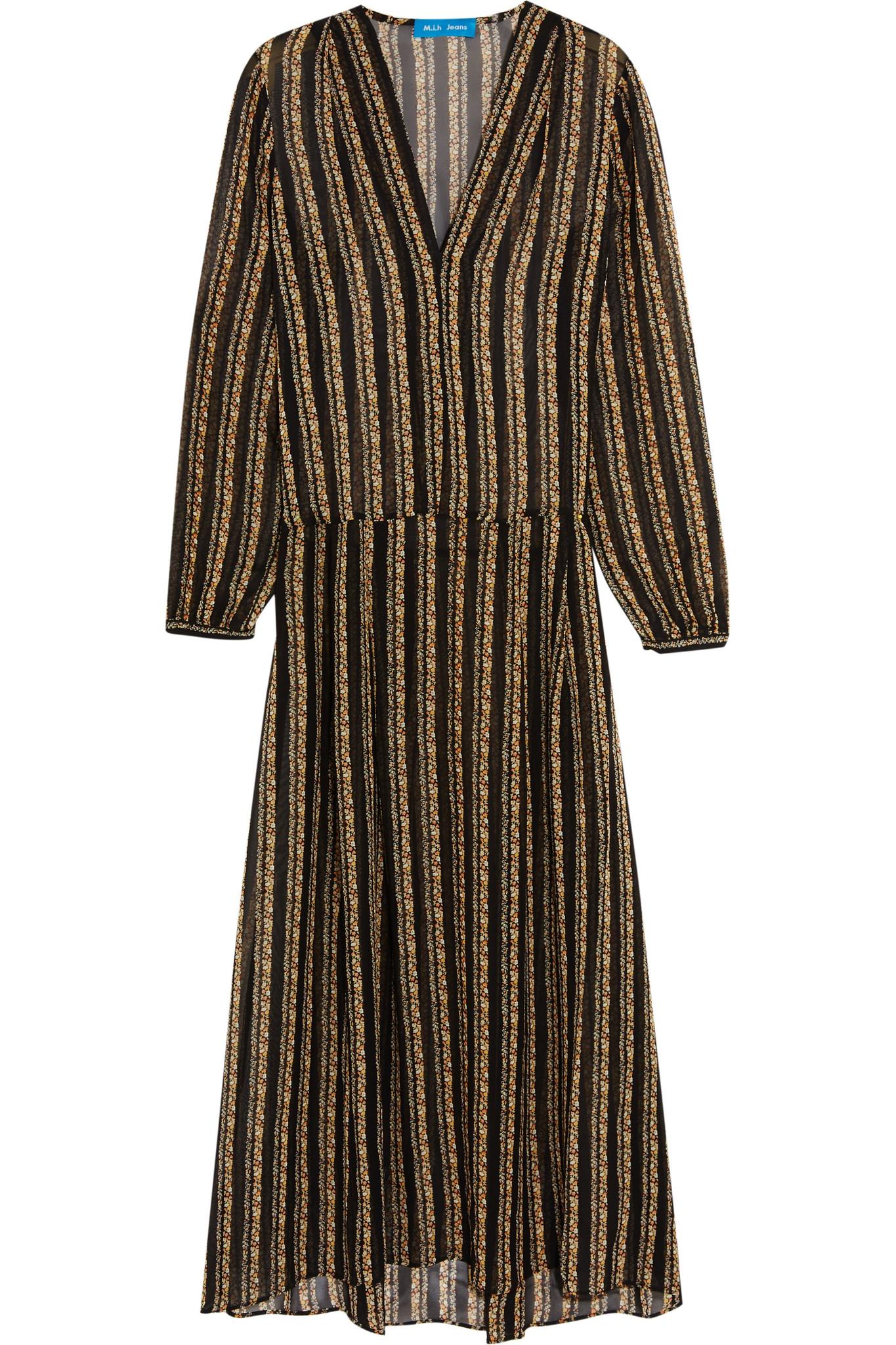 07a75ebe08 Lyst - M.i.h Jeans Cornflower Floral-print Silk-chiffon Midi Dress ...