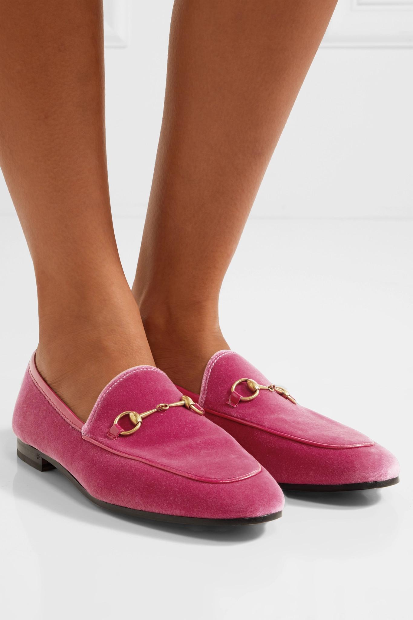b3d2afaca5f Gucci - Pink Jordaan Horsebit-detailed Leather-trimmed Velvet Loafers - Lyst.  View fullscreen