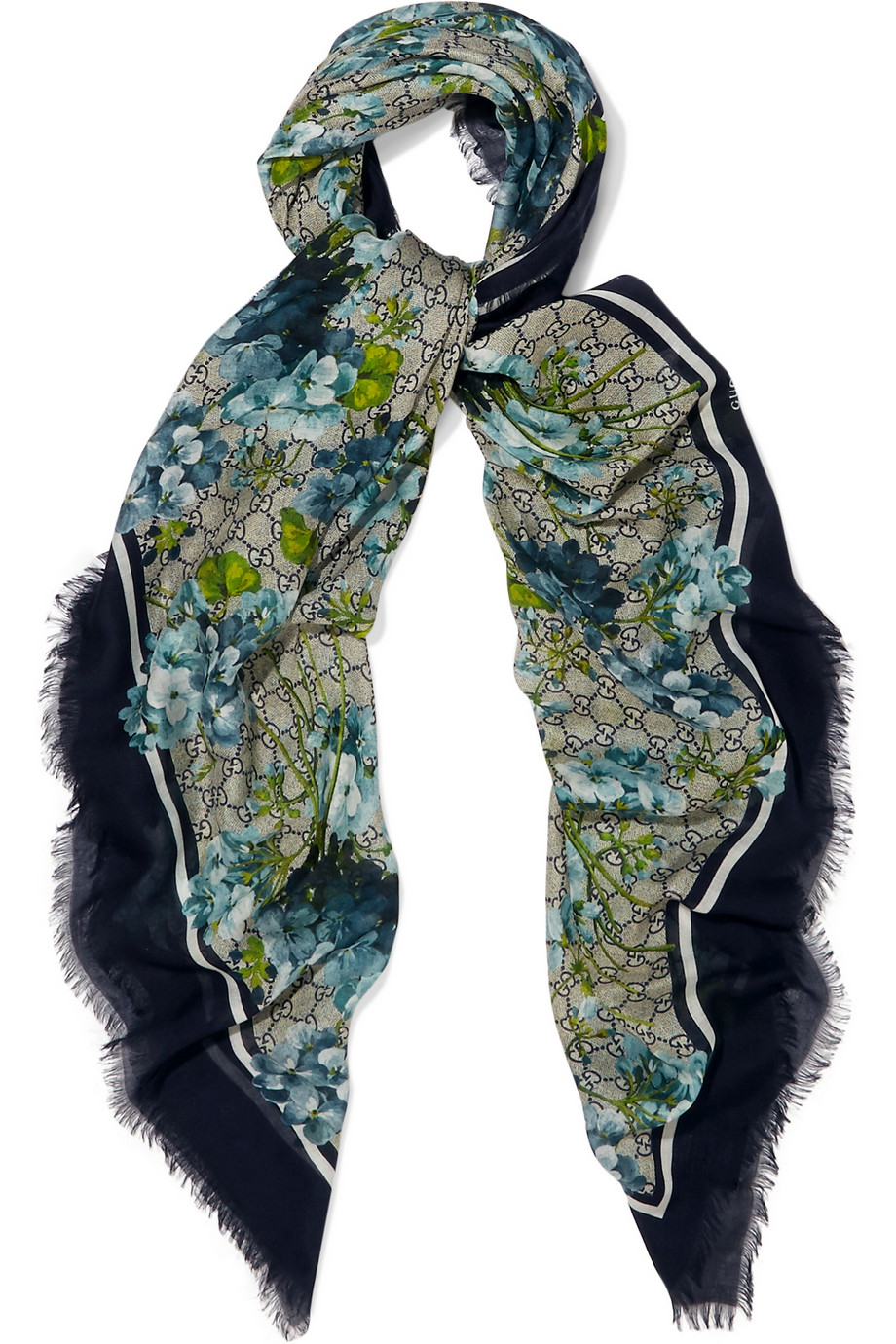 gucci printed modal and silk blend scarf in green lyst