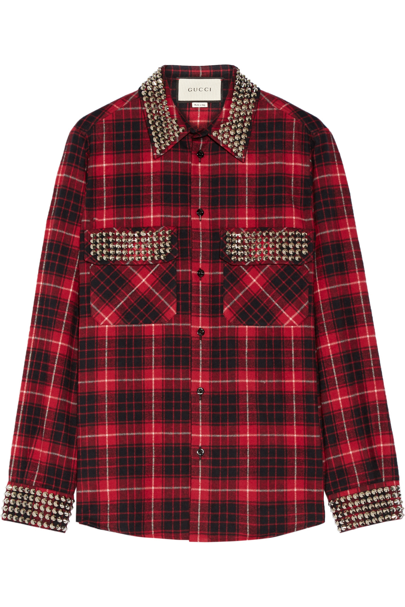 lyst gucci embellished plaid cotton flannel shirt in red. Black Bedroom Furniture Sets. Home Design Ideas