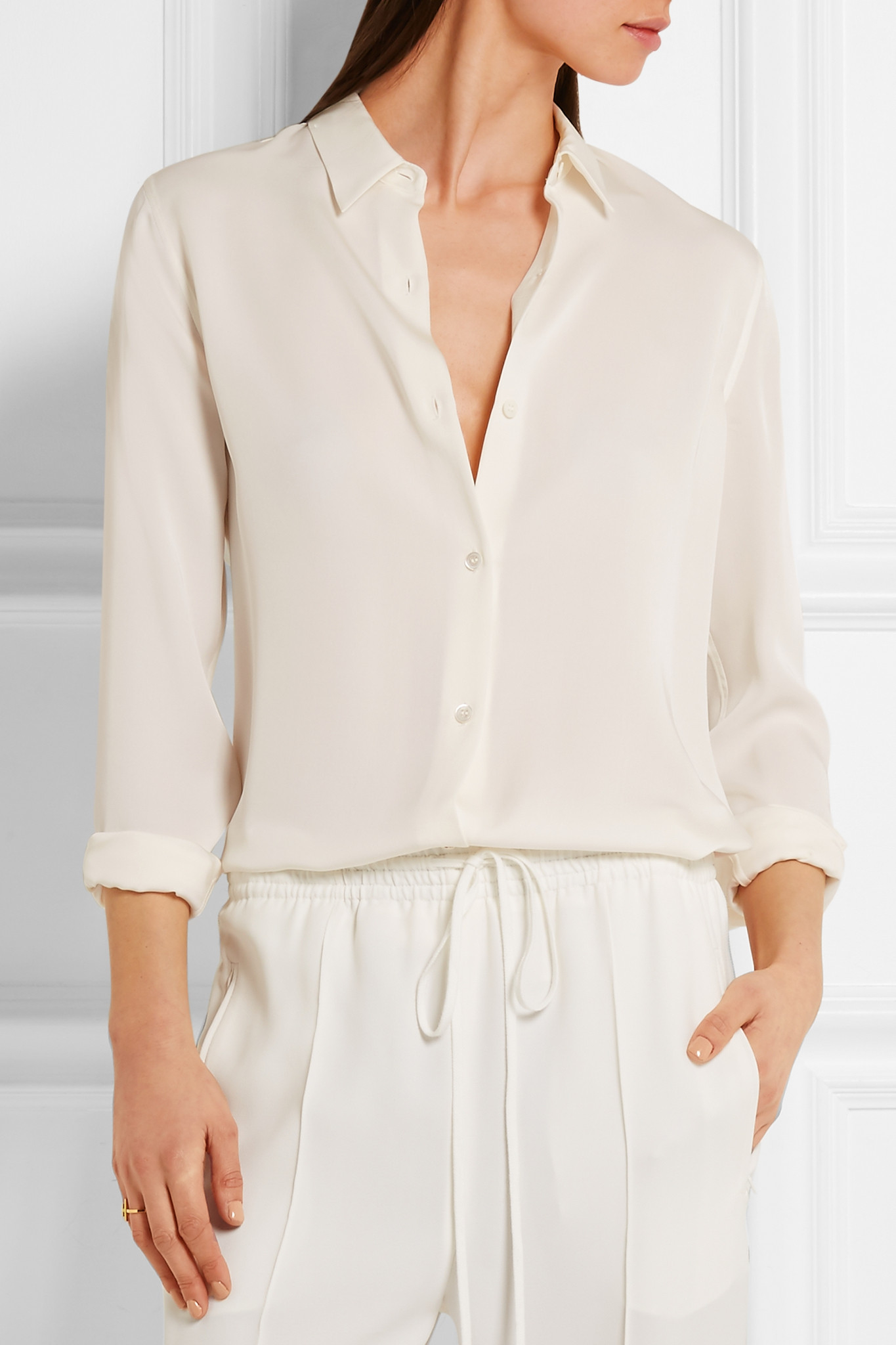 Lyst Theory Tenia Silk Crepe De Chine Shirt In White