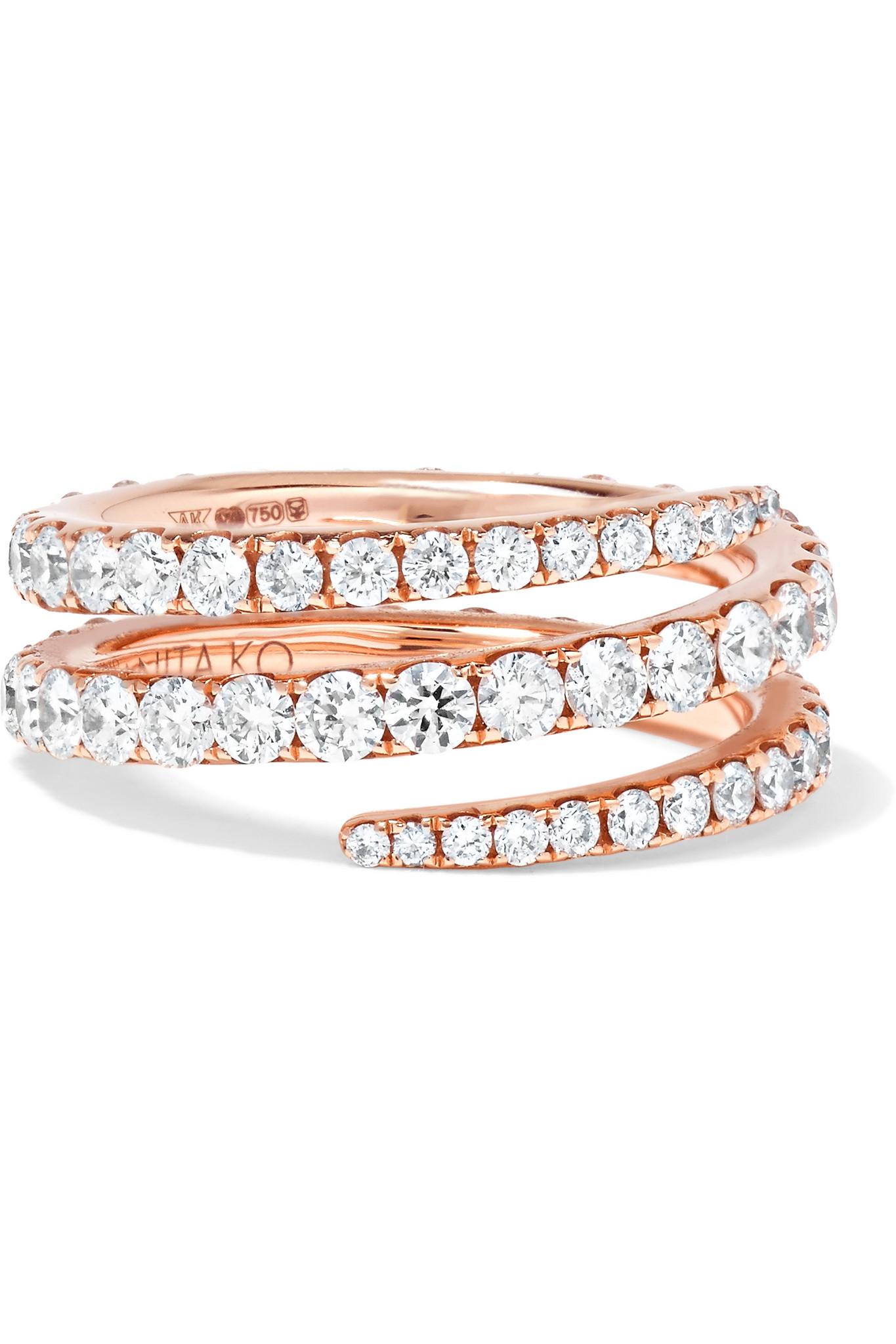 Anita Ko Coil 18 Karat Rose Gold Diamond Ring Lyst