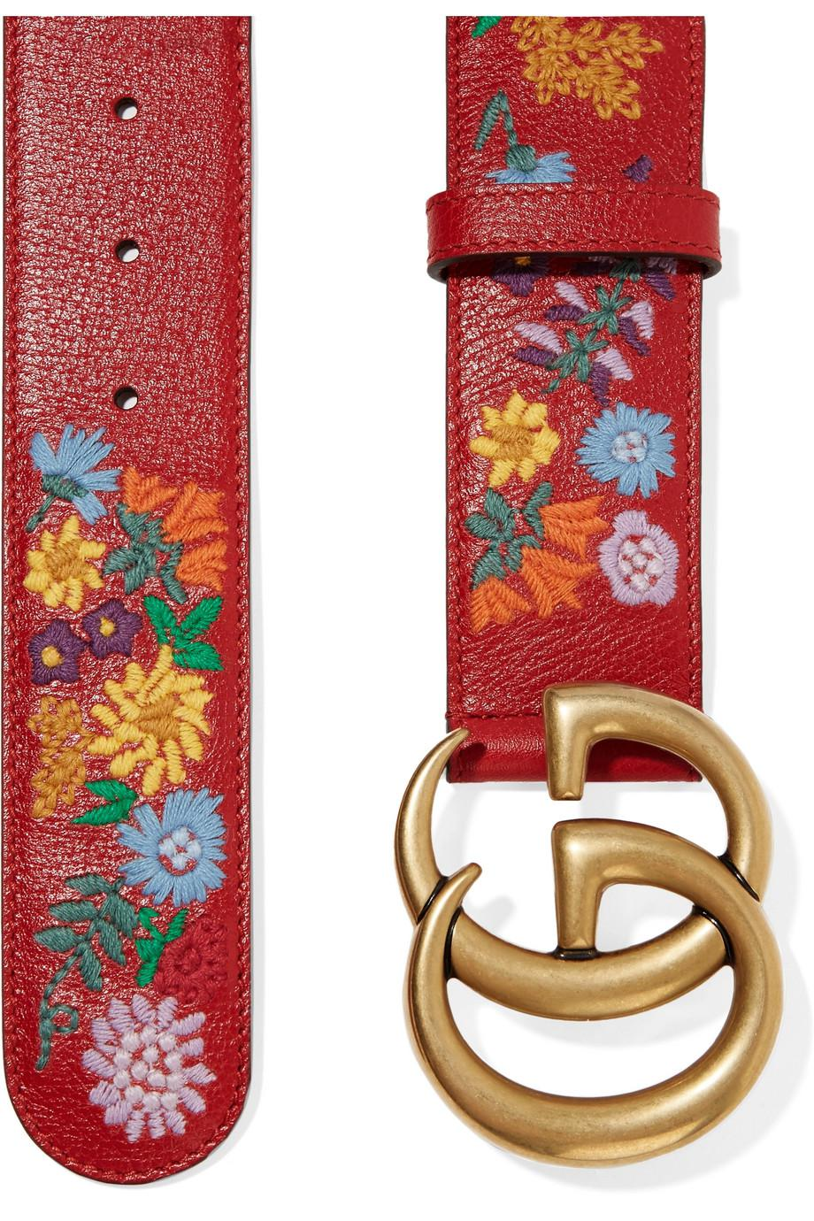 6d7e3daf8 Gucci Embroidered Textured-leather Belt in Red - Lyst