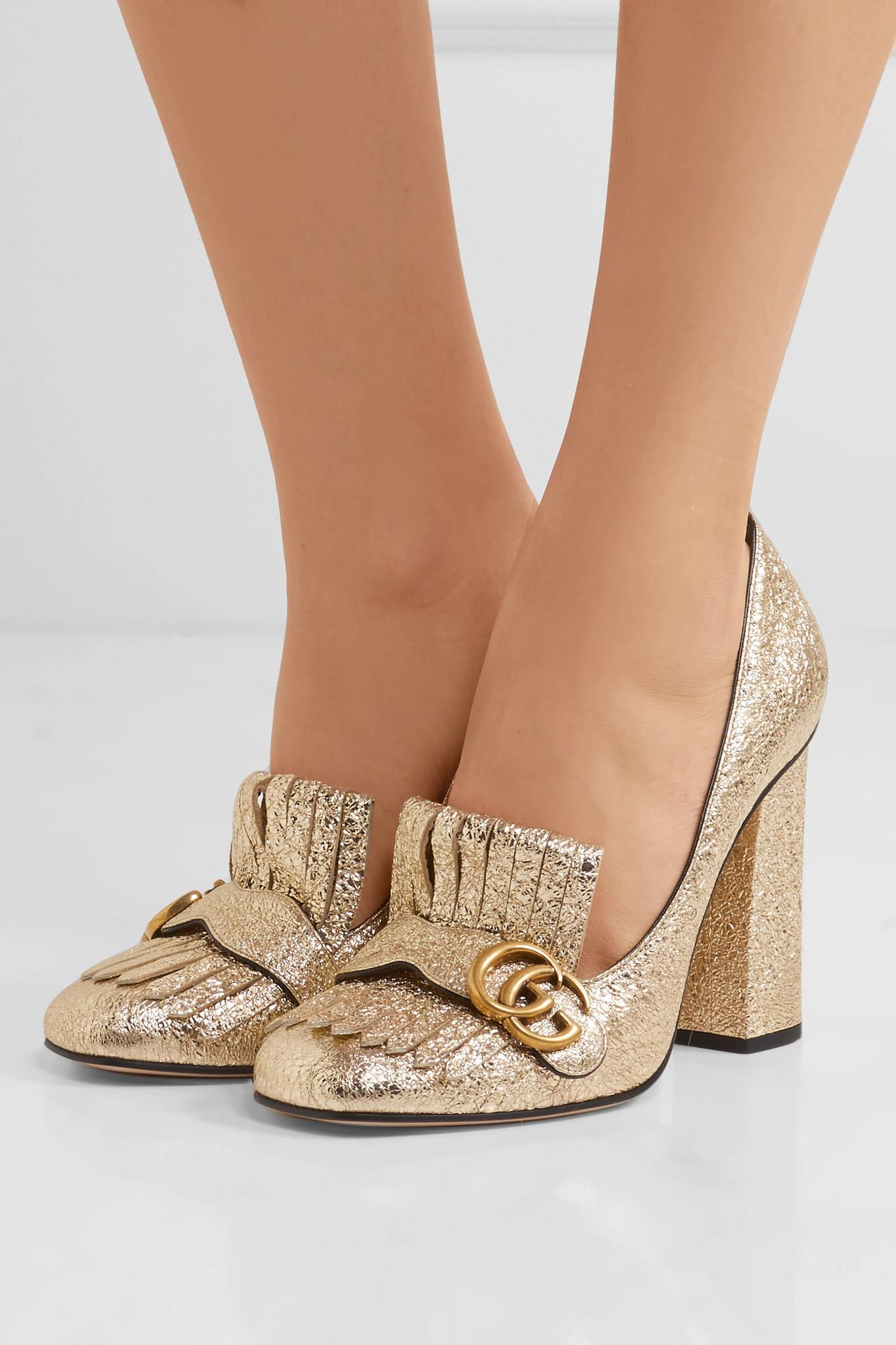 dc2aa89beae8 Gucci Marmont Fringed Metallic Cracked-leather Pumps in Metallic - Lyst