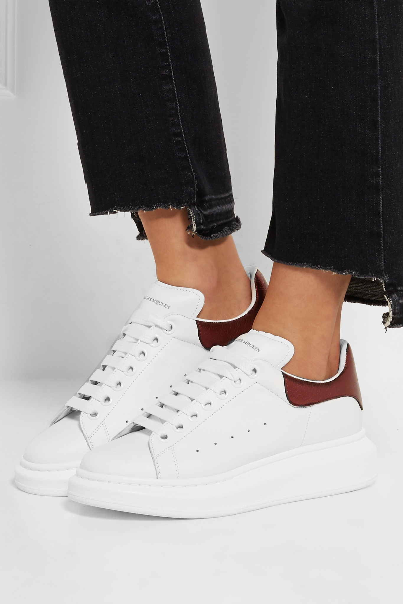 Metallic-trimmed Leather Exaggerated-sole Sneakers - White Alexander McQueen 2018 New Sale Online Geniue Stockist Cheap Online Ebay Online kIH7quOMwp