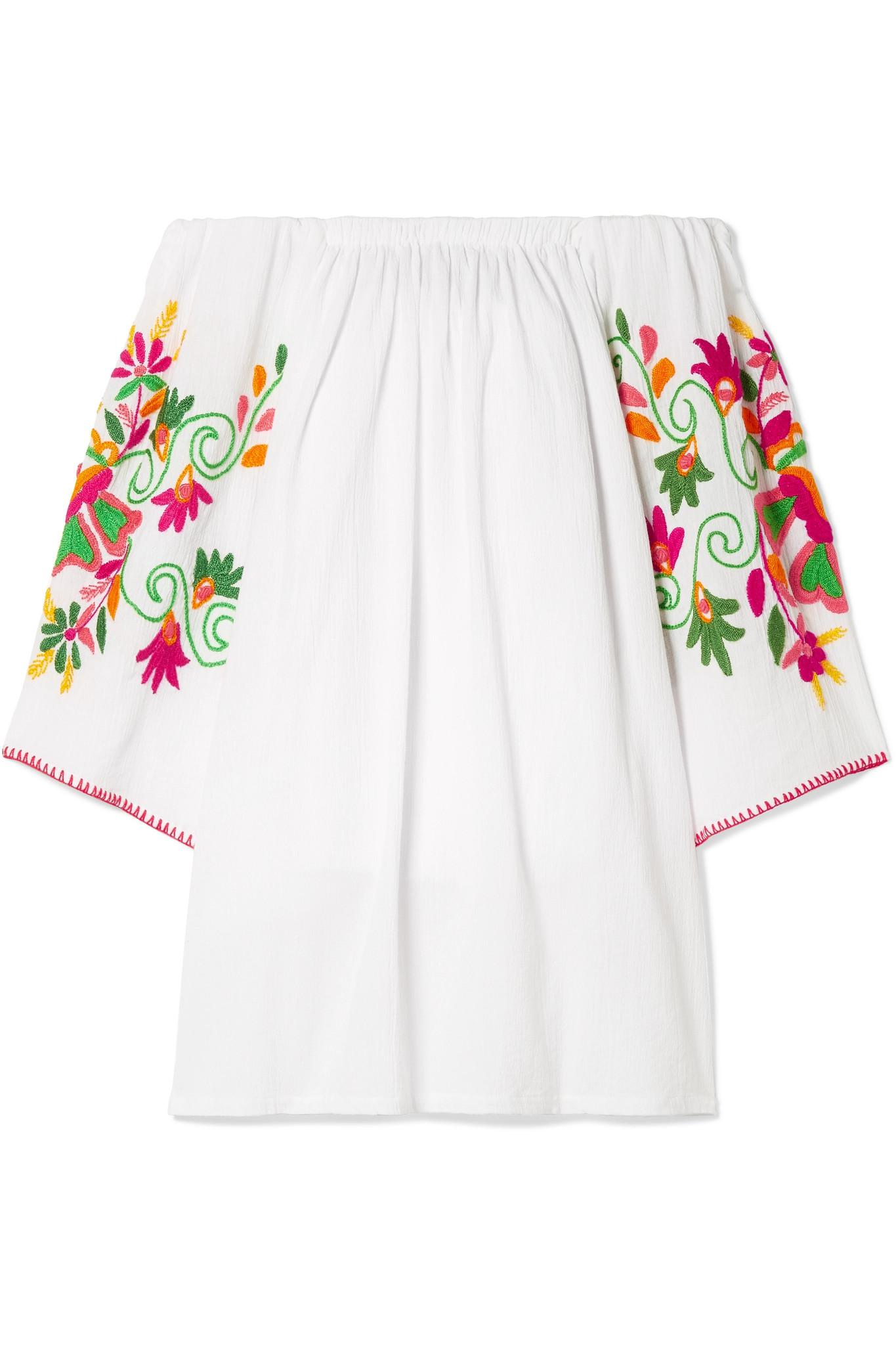 Best Store To Get Sale Online Off-the-shoulder Embroidered Crinkled-cotton Mini Dress - White Sensi Studio 2018 Newest For Sale Amazing Price Best 13THWOoQ