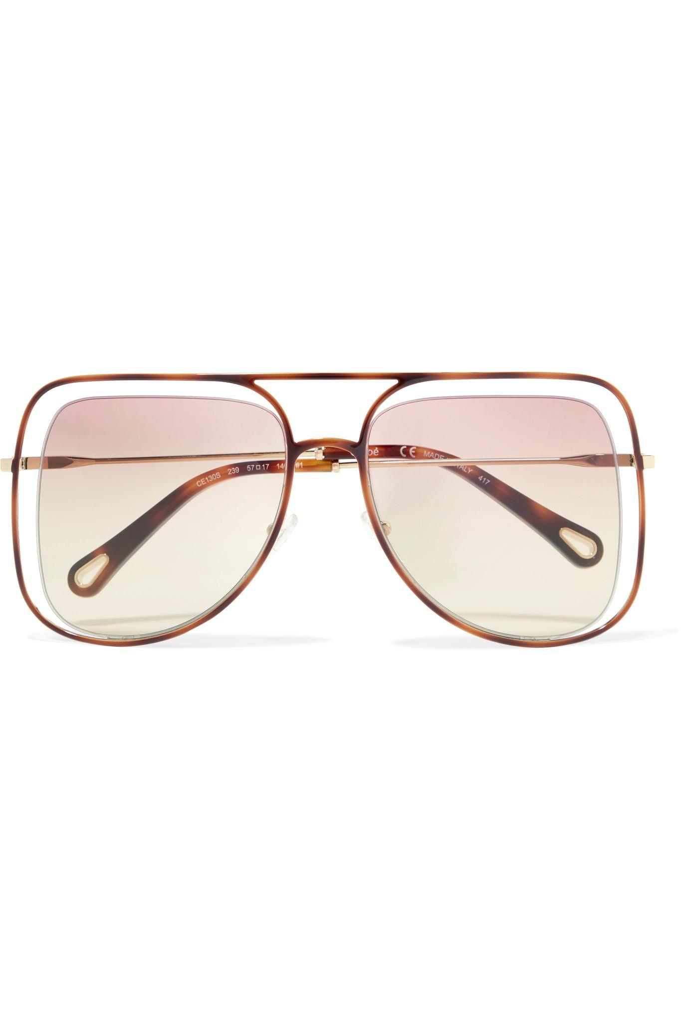 52a5e9d3520 Chloé Poppy Square-frame Acetate And Gold-tone Sunglasses in Purple ...