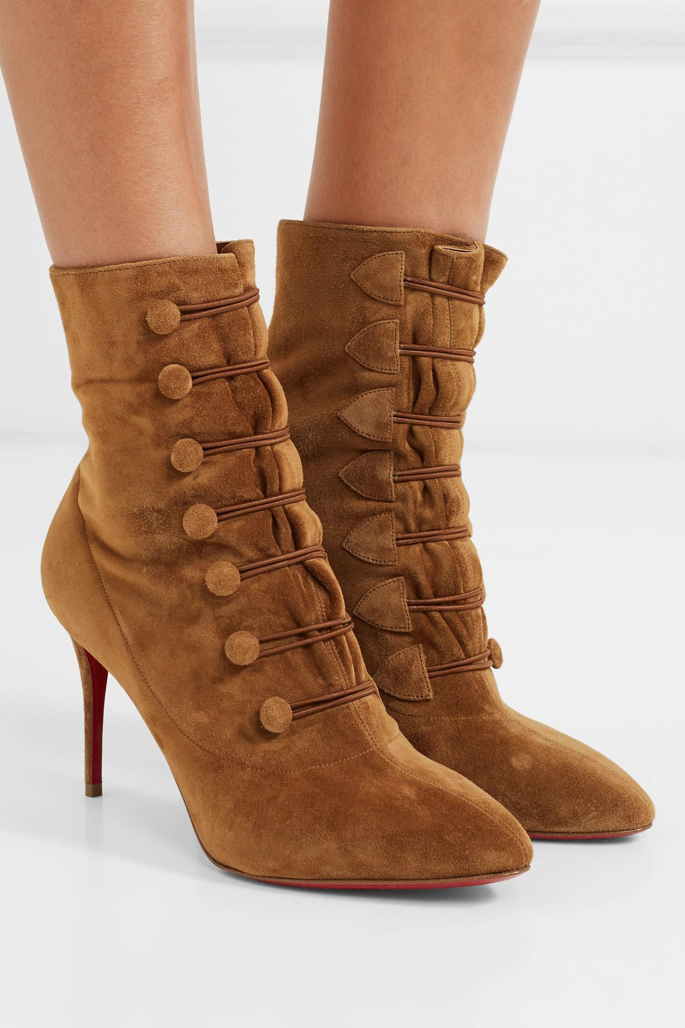 f9653667ef95 Christian Louboutin - Brown French Tutu 85 Suede Ankle Boots - Lyst. View  fullscreen