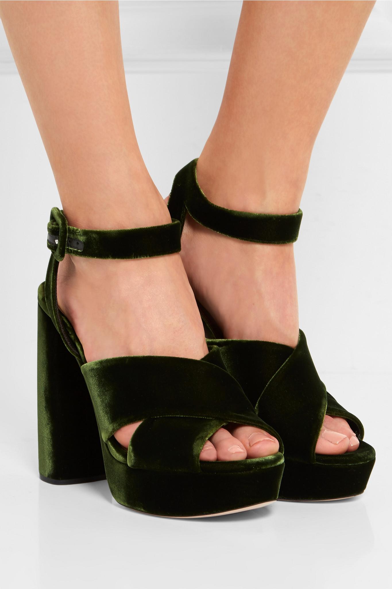 670318bb1a26 Lyst - Miu Miu Velvet Platform Sandals in Black