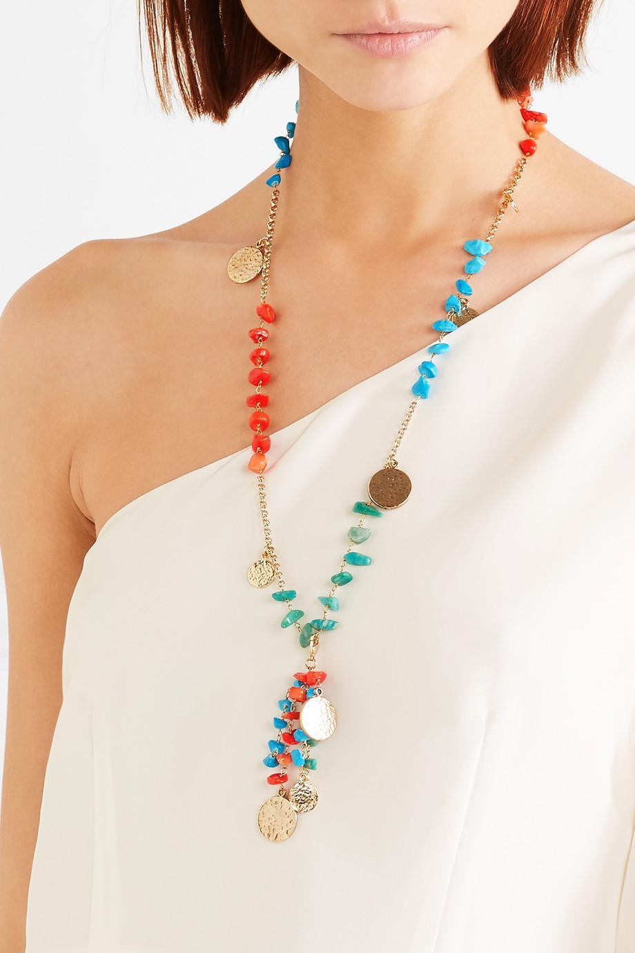 Rosantica Vento Gold-tone Beaded Necklace - Blue 3XqgLNHx