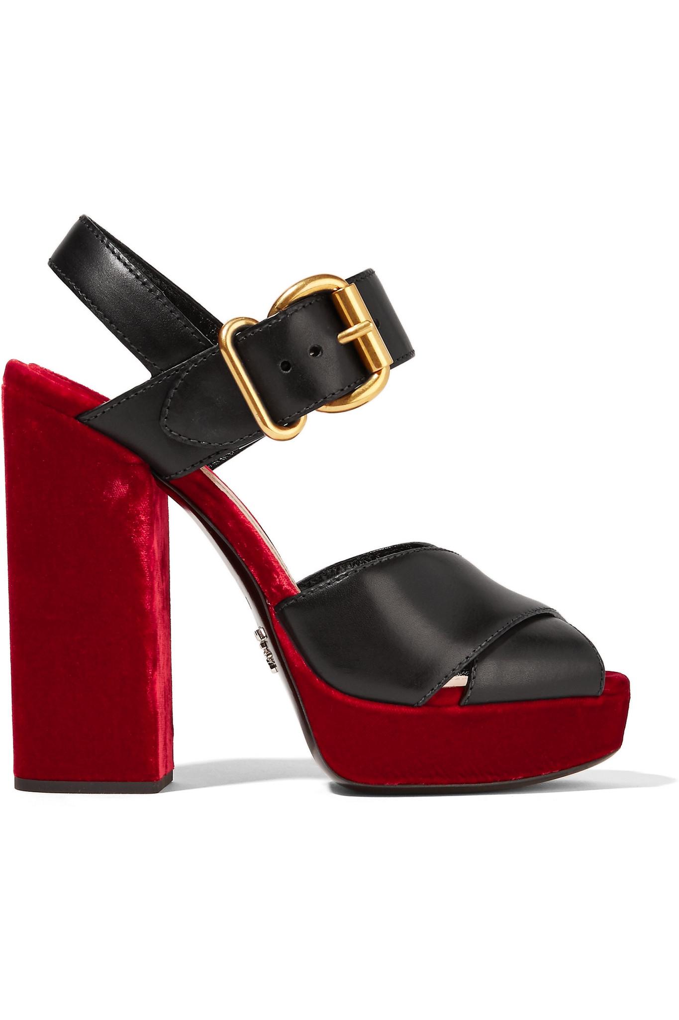 Prada Shoes Black Velvet Sandals