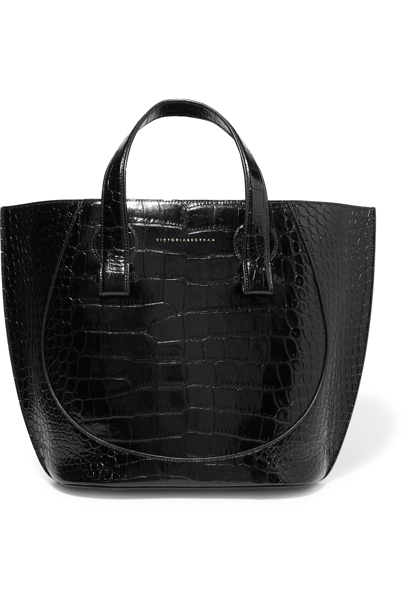 Lyst - Victoria Beckham Tulip Small Croc-effect Leather Tote in Black 48300d5b06c90