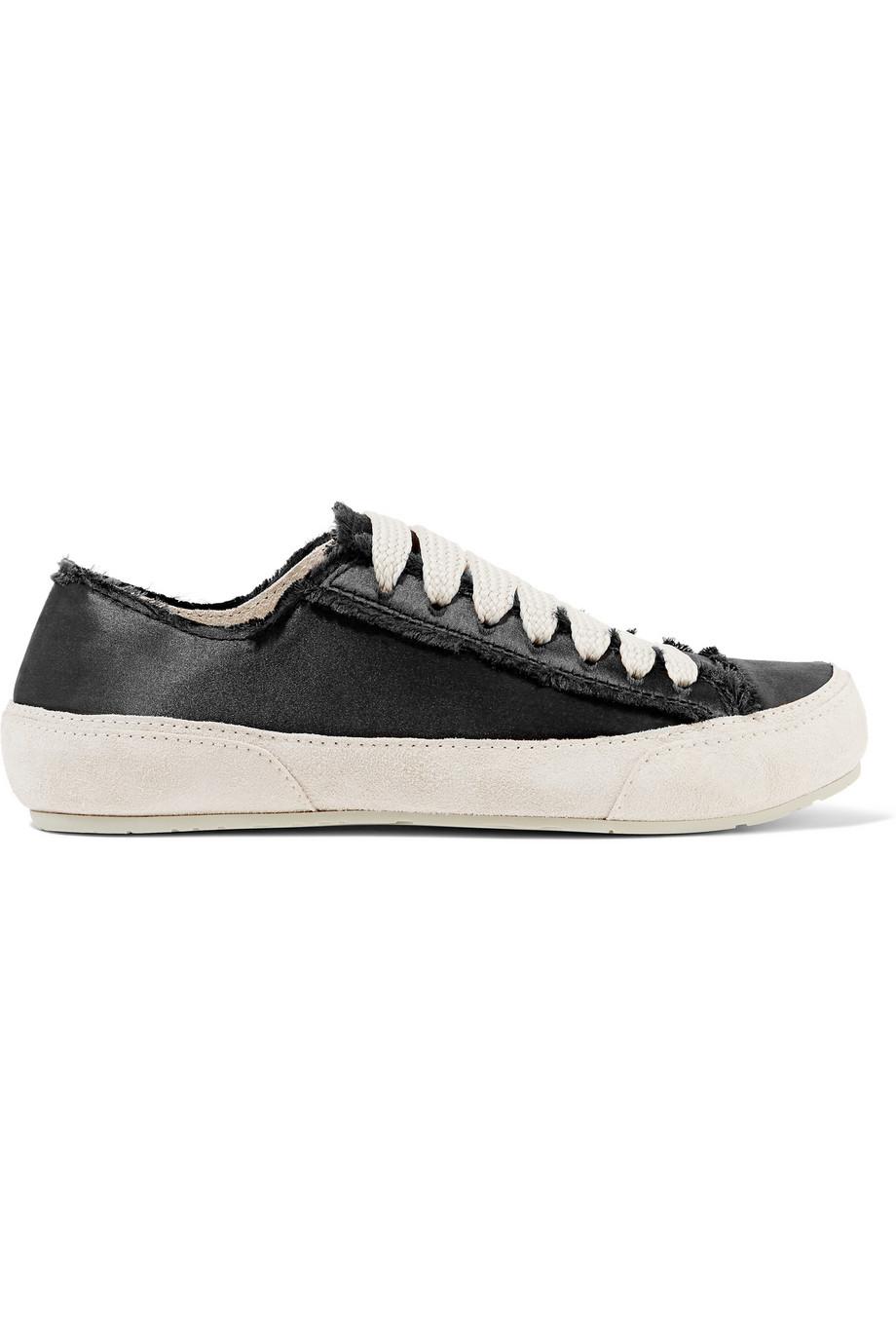 pedro garcia parson suede trimmed satin sneakers in black
