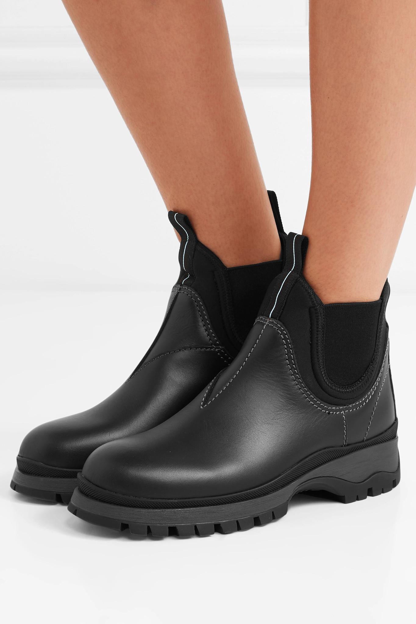7e457ff330d1 Prada - Black Lug-sole Leather & Neoprene Chelsea Boots - Lyst. View  fullscreen