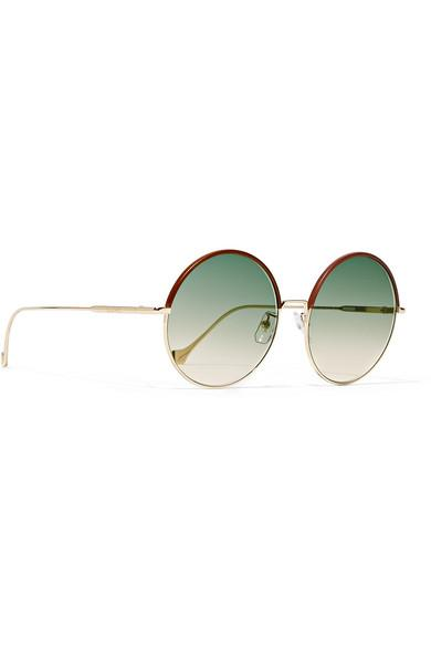 0784e18c7e Loewe Sharon Round-frame Gold-tone And Leather Sunglasses in Brown ...