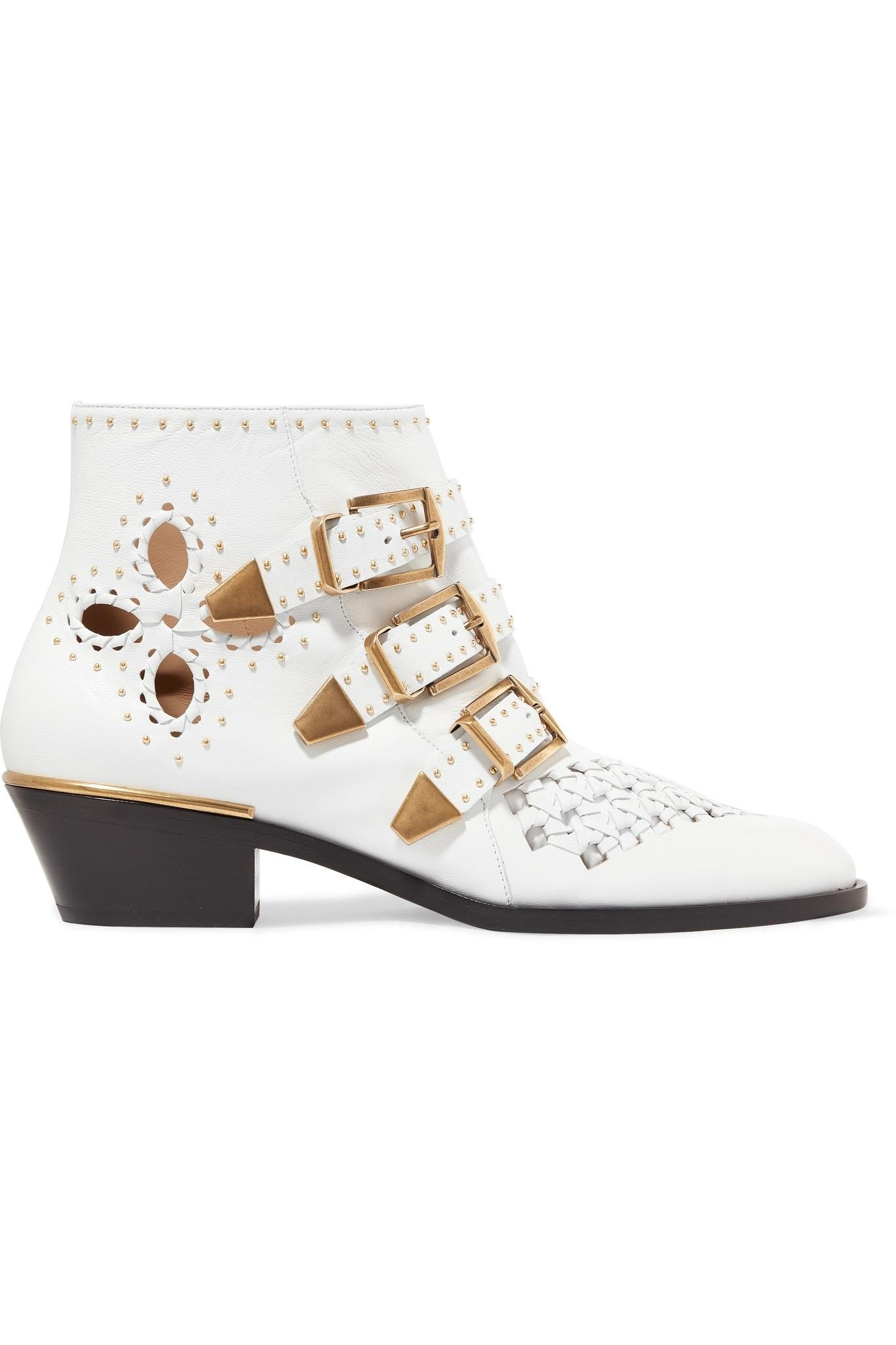 50f5253f2fa0 Chloé. Women s White Susanna Cutout Studded Leather Ankle Boots. £1