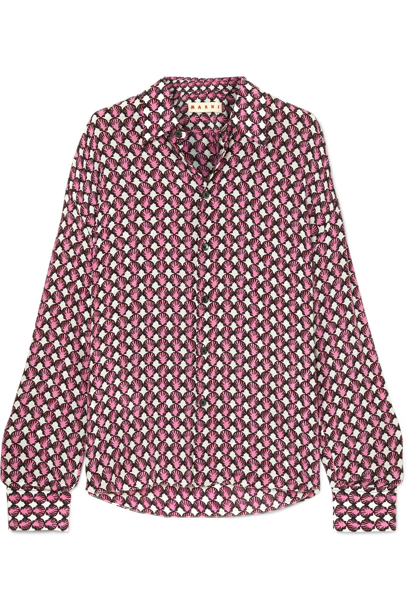 eee68e52ad8f7c Marni Printed Silk-crepe Shirt in Pink - Lyst