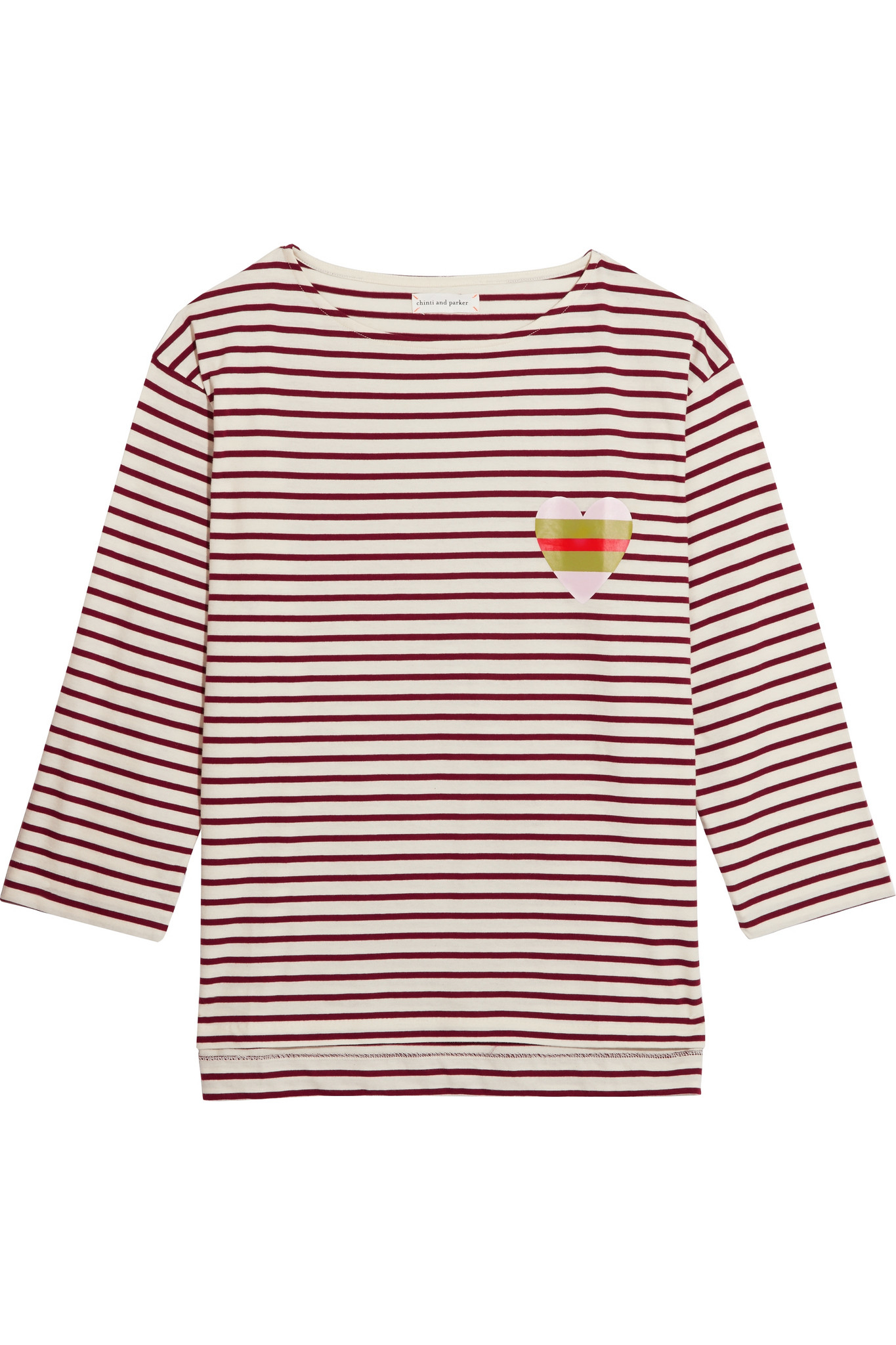 Chinti & parker Striped Organic Cotton-jersey Top in Red ...