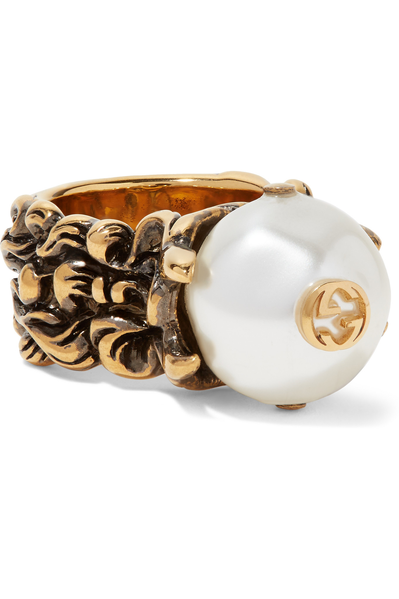 gucci burnished gold tone faux pearl ring in metallic lyst