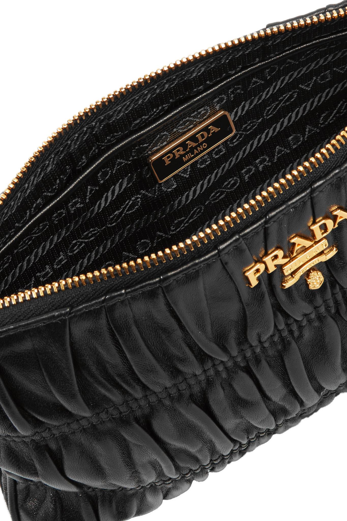 6b9ab765cb724c Prada Matelassé Leather Clutch in Black - Lyst