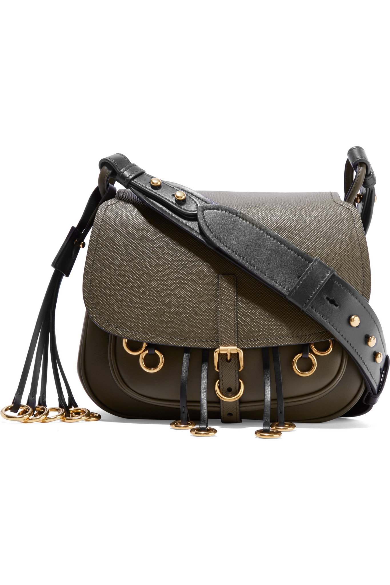 ad3c81c4af5d Prada Corsaire Embellished Leather Shoulder Bag in Green - Lyst