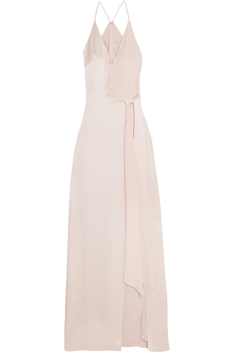 Tie-front Satin Gown - Baby pink Halston Heritage CZiW6FW4WL