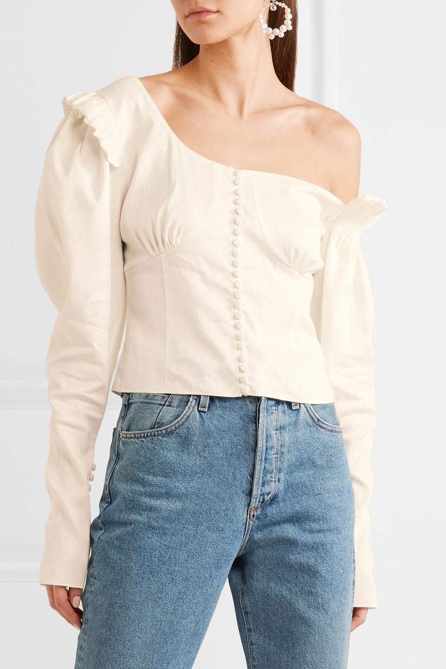 1de85be5f92 Magda Butrym Vannes Off-the-shoulder Ruffle-trimmed Linen-blend Top ...