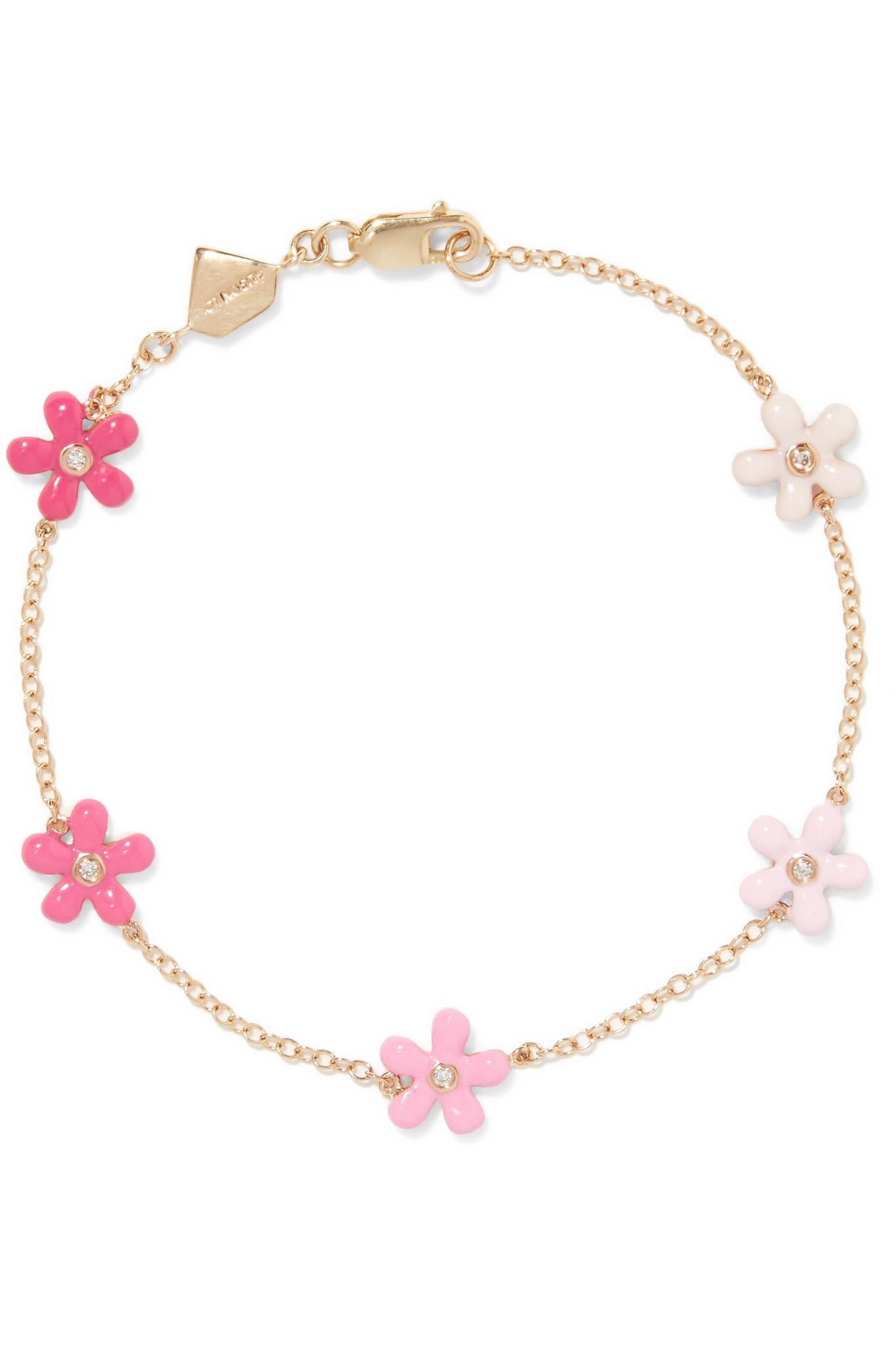Alison Lou Lip 14-karat Gold Enamel Bracelet q9OMDb