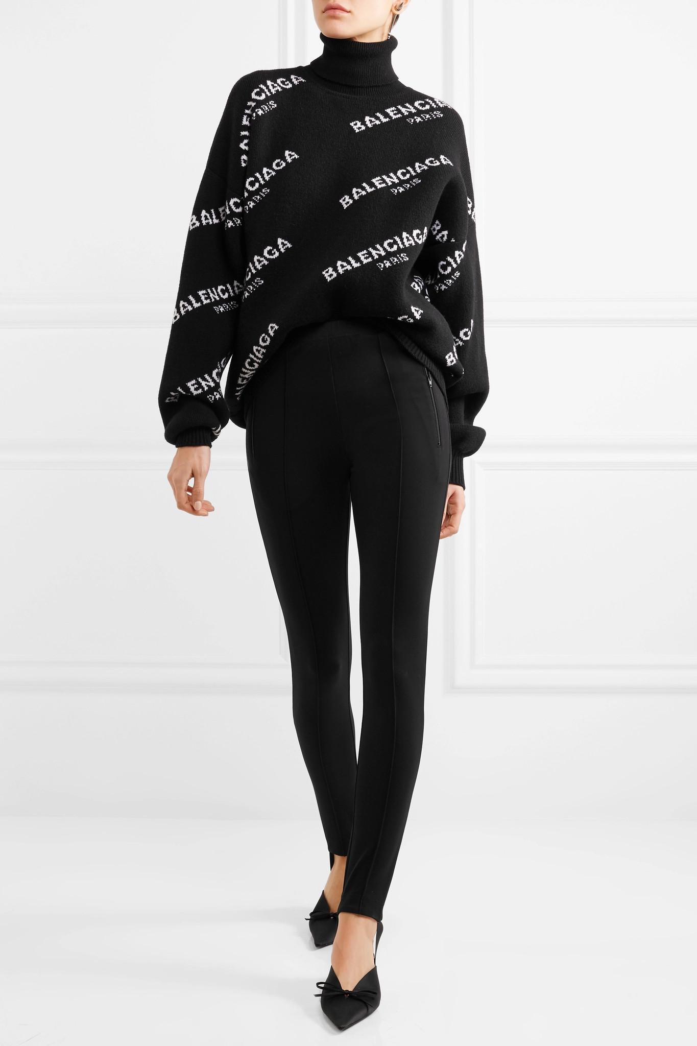 d37051239a Balenciaga Oversized Intarsia Wool-blend Turtleneck Sweater in Black ...