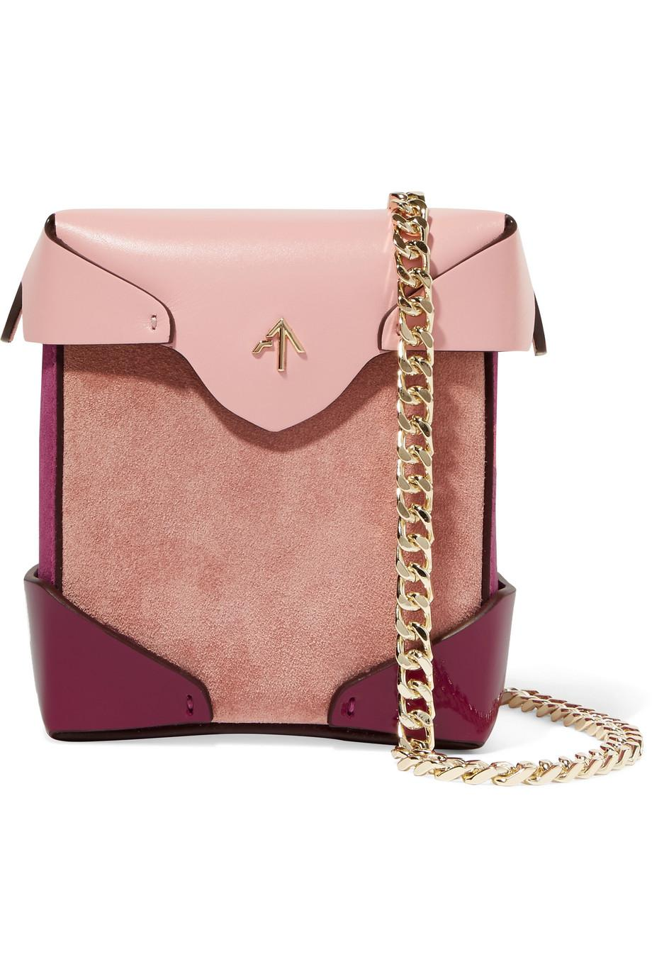 Cheap Lowest Price Bold Color-block Leather And Suede Shoulder Bag - White Manu Atelier Cost Cheap Price CZNov