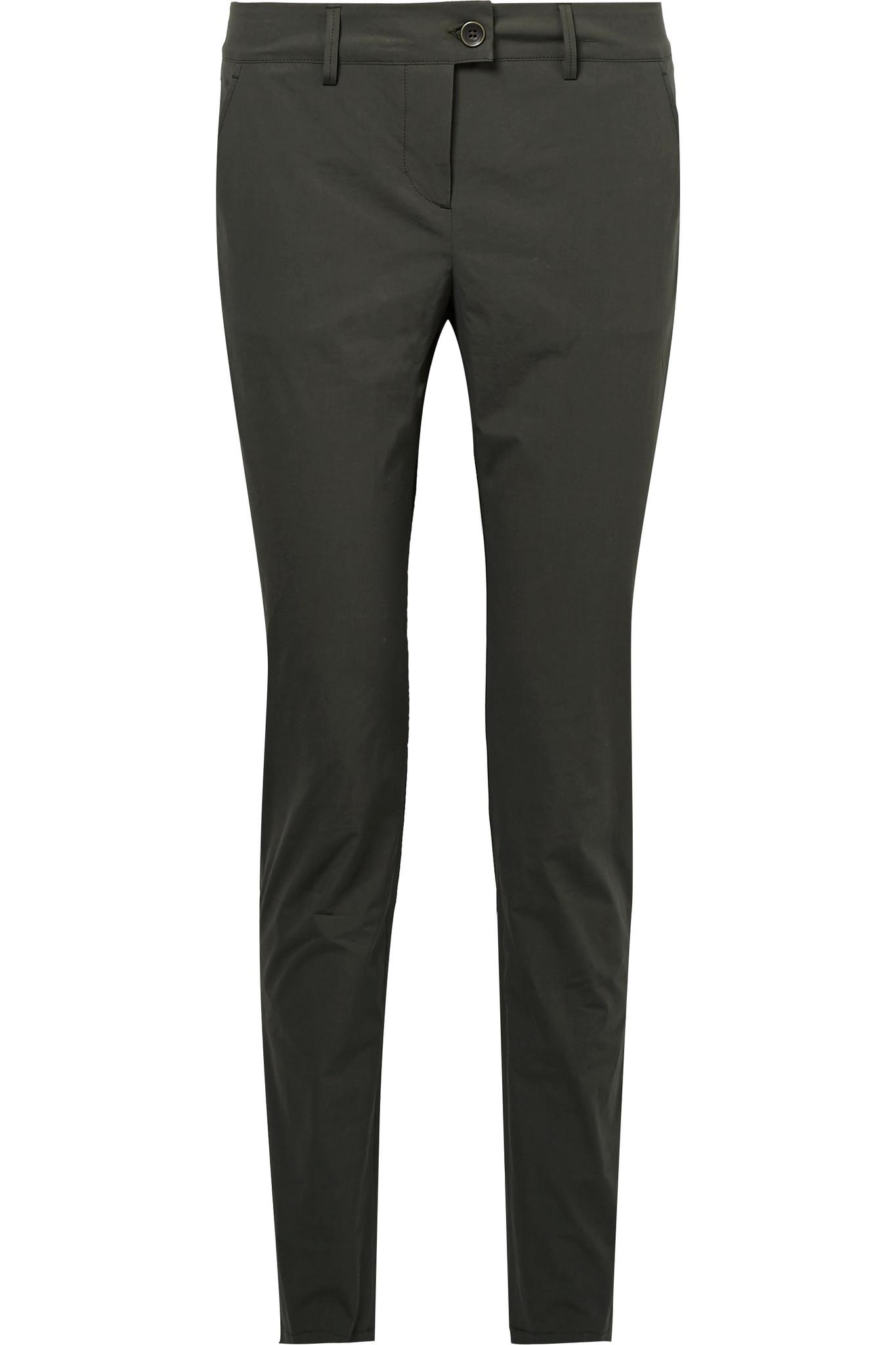 Stretch-cotton Poplin Skinny Pants - Army green Tomas Maier Free Shipping Extremely Xa9wnE