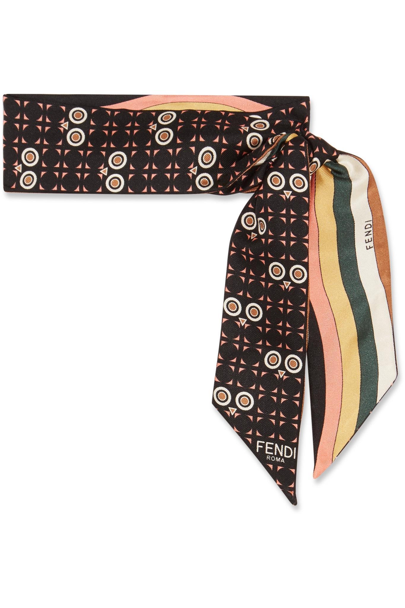 fendi reversible printed silk twill scarf in black lyst