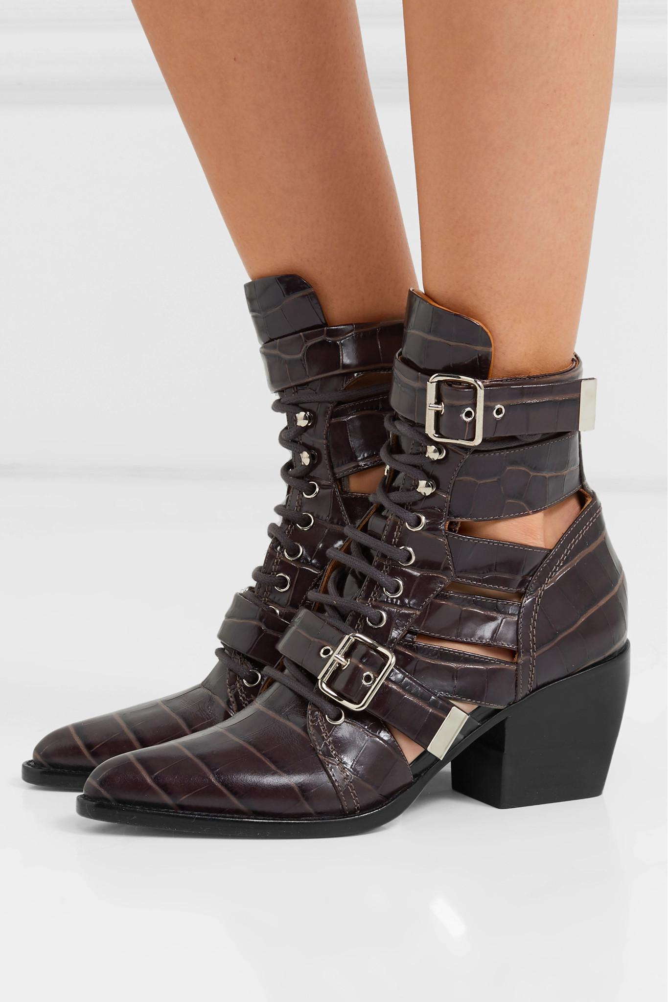 f65ae8d7bd4aa Chloé - Brown Rylee Cutout Croc-effect Leather Ankle Boots - Lyst. View  fullscreen