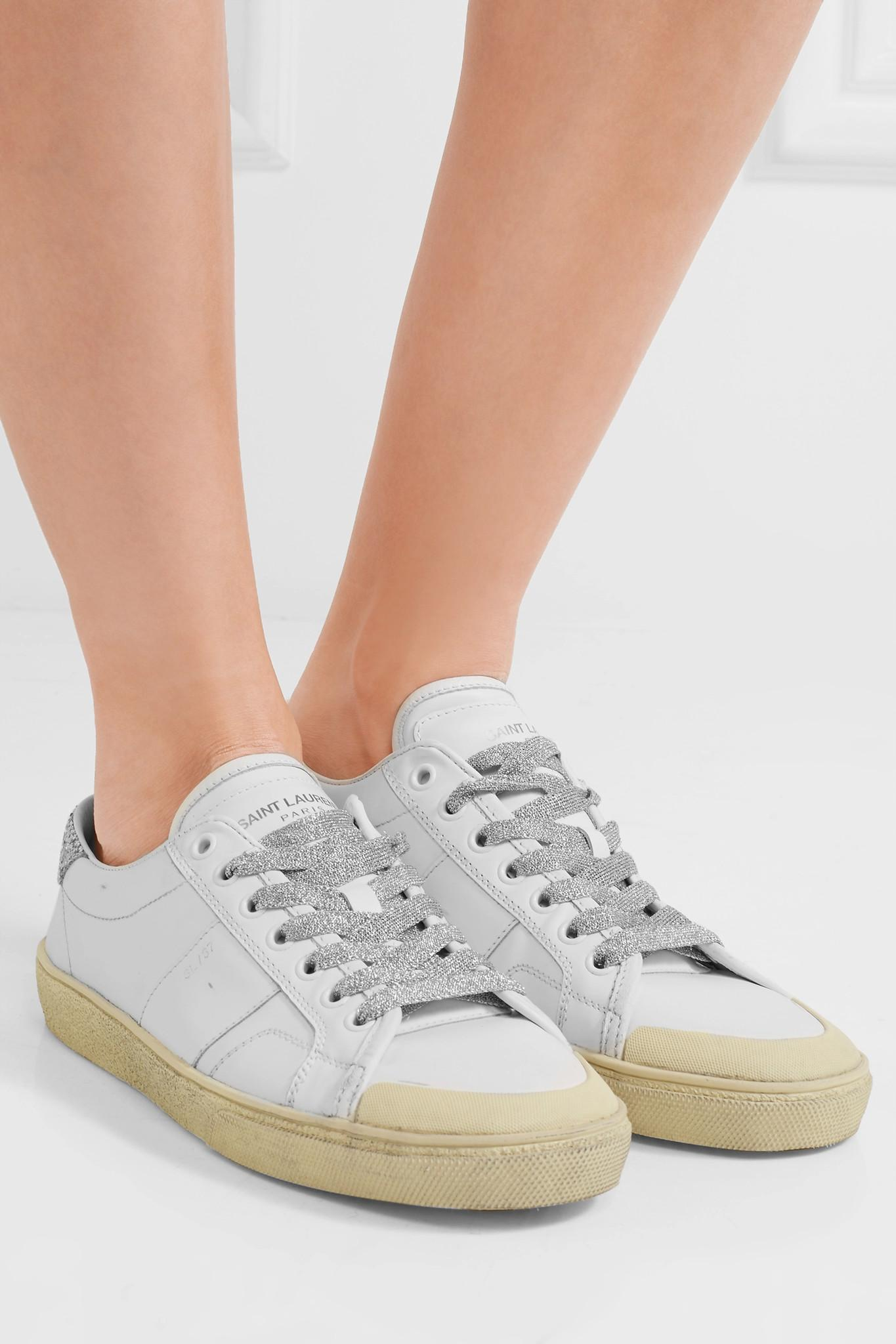 saint laurent court classic glitter trimmed leather sneakers in white lyst. Black Bedroom Furniture Sets. Home Design Ideas