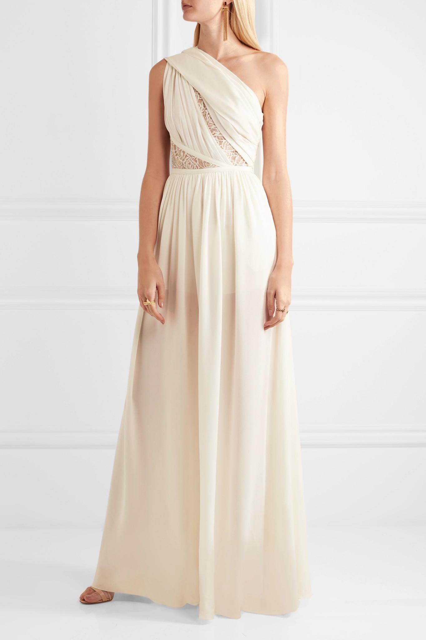 Lyst - Elie Saab One-shoulder Lace-paneled Silk-blend ...