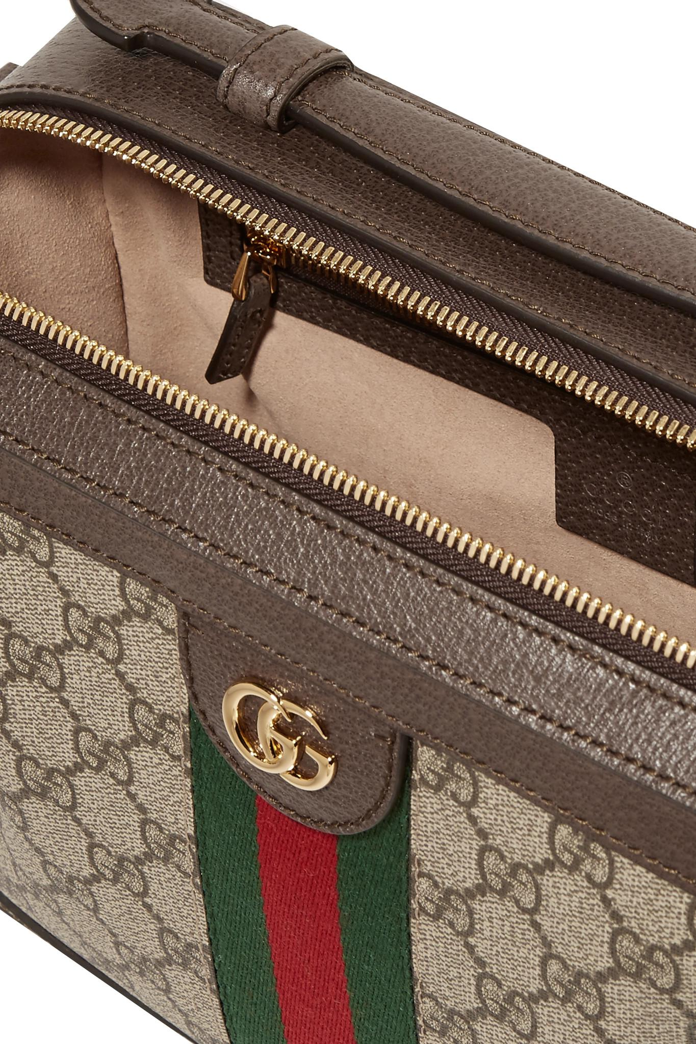 Gucci - Brown Ophidia Small Textured Leather-trimmed Printed Coated-canvas  Camera Bag -. View fullscreen 6da7cf217853a