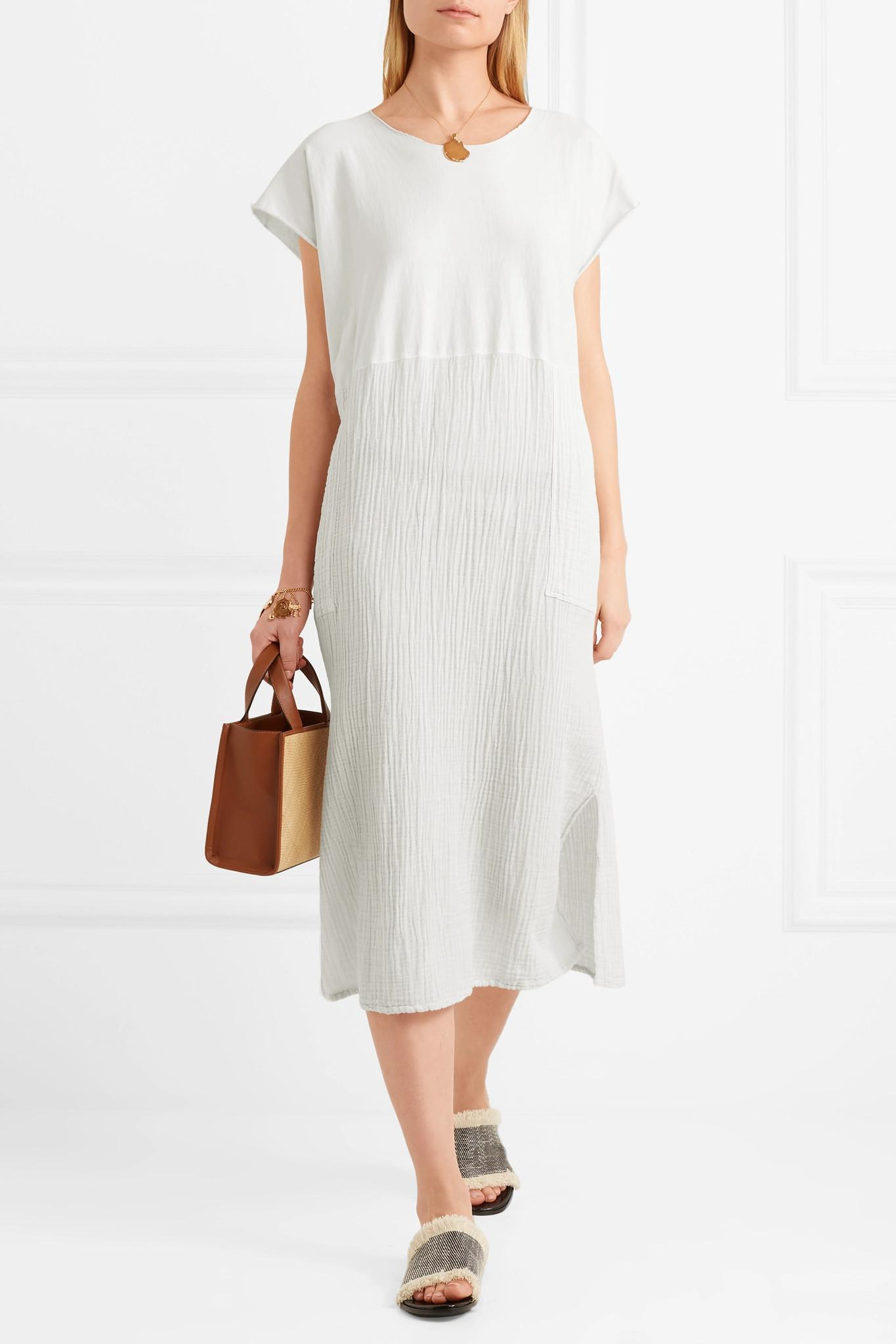 Paneled Cotton Midi Dress - White Raquel Allegra UfbhB2