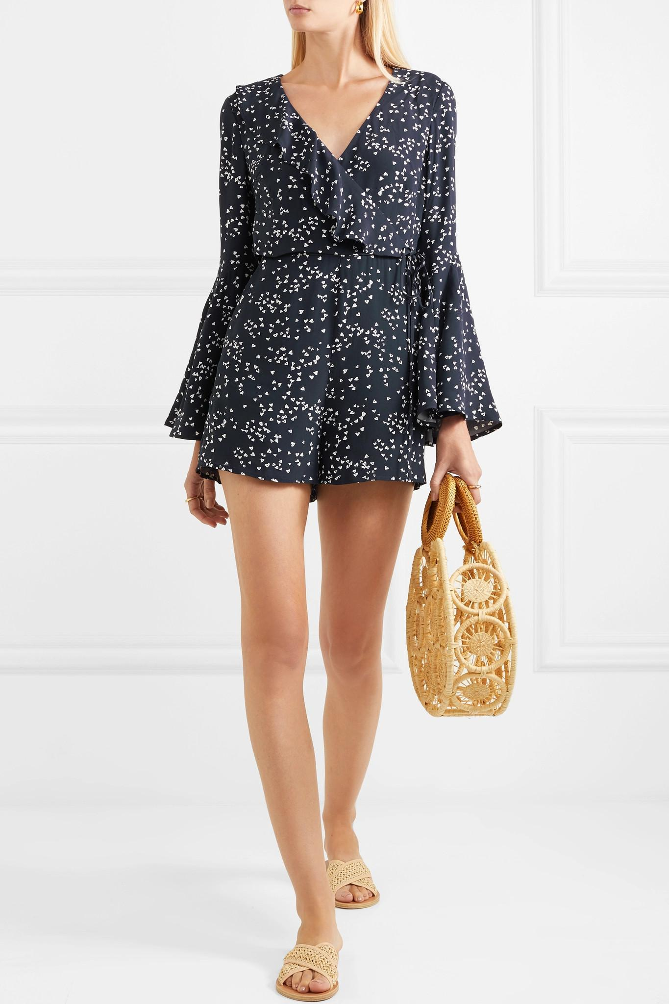 Flores Wrap-effect Ruffled Printed Crepe Playsuit - Navy Rebecca Vallance