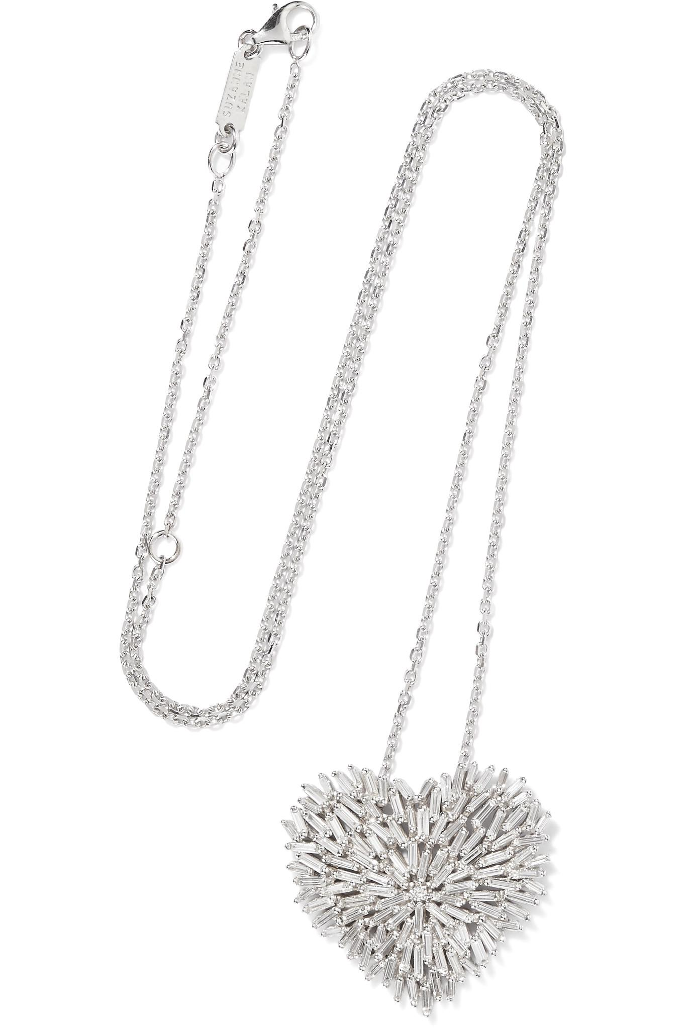 Suzanne Kalan 18-karat White And Rose Gold Diamond Necklace - White gold 32sB7