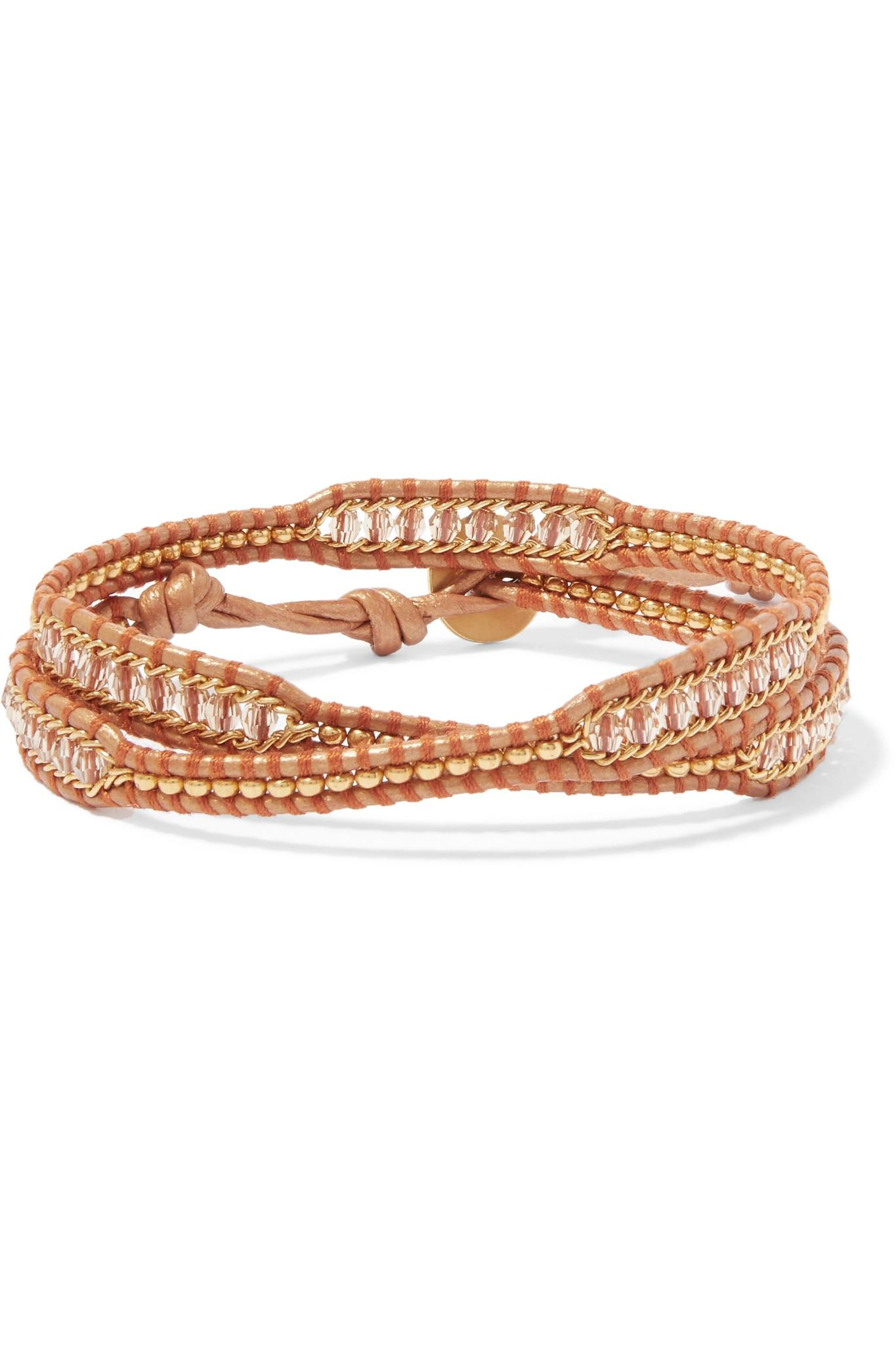 Chan Luu Leather And Gold-tone Beaded Wrap Bracelet - Beige vps1fM7