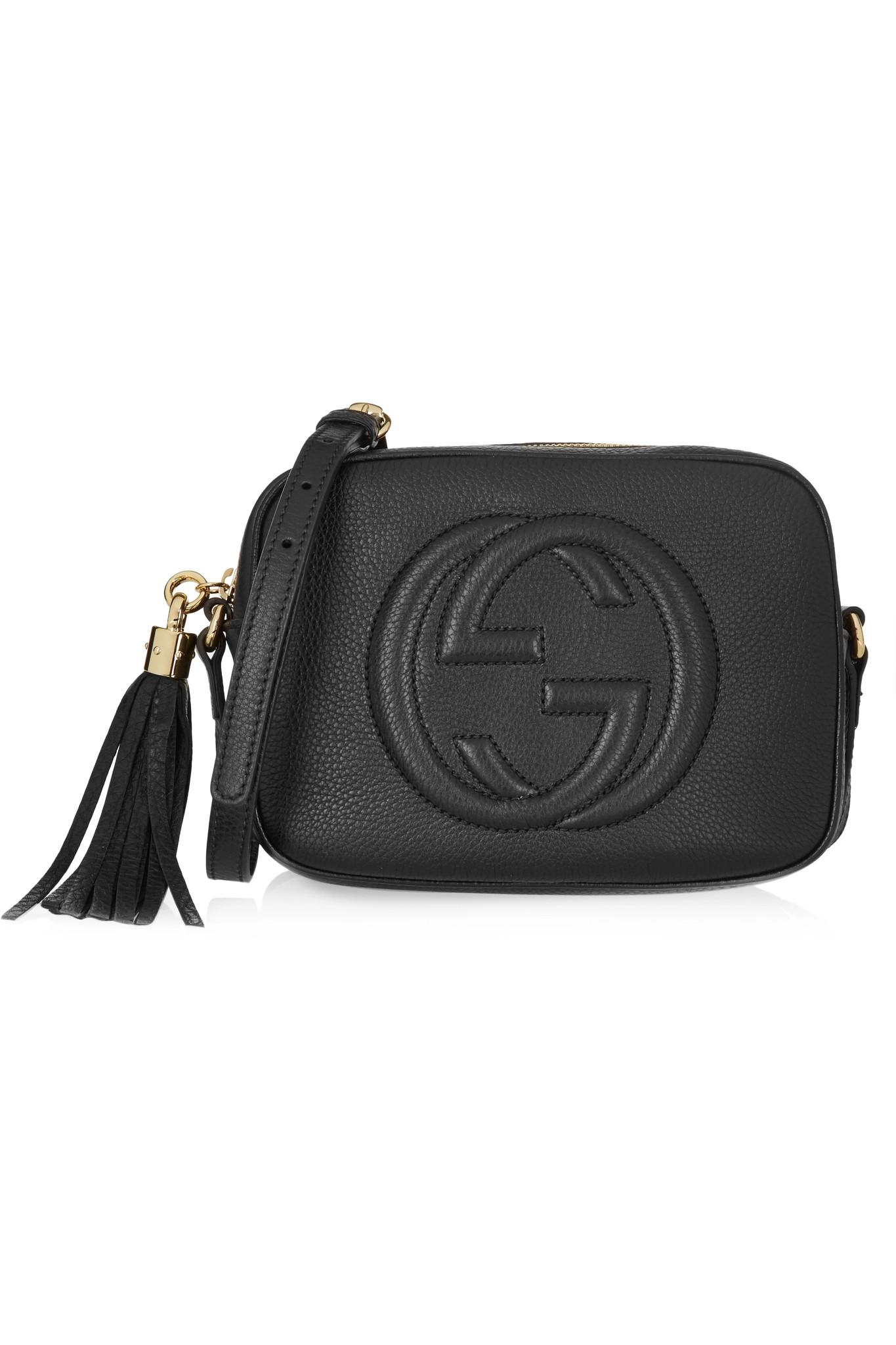 fd68299fcd05 Gucci Soho Disco Textured-leather Shoulder Bag in Black - Lyst