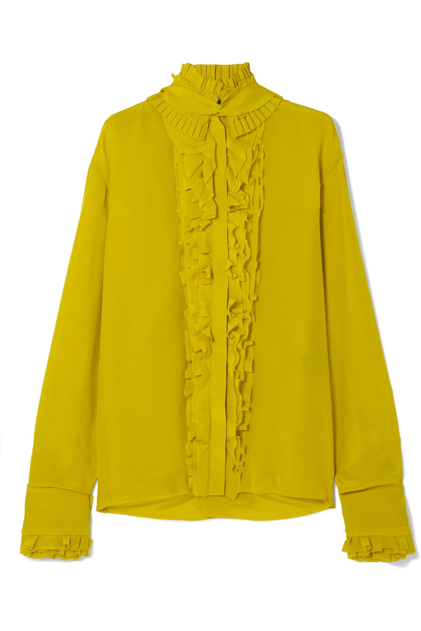 1df688d0e34f0 Haider Ackermann - Yellow Pleated Ruffled Silk Crepe De Chine Blouse -  Lyst. View fullscreen