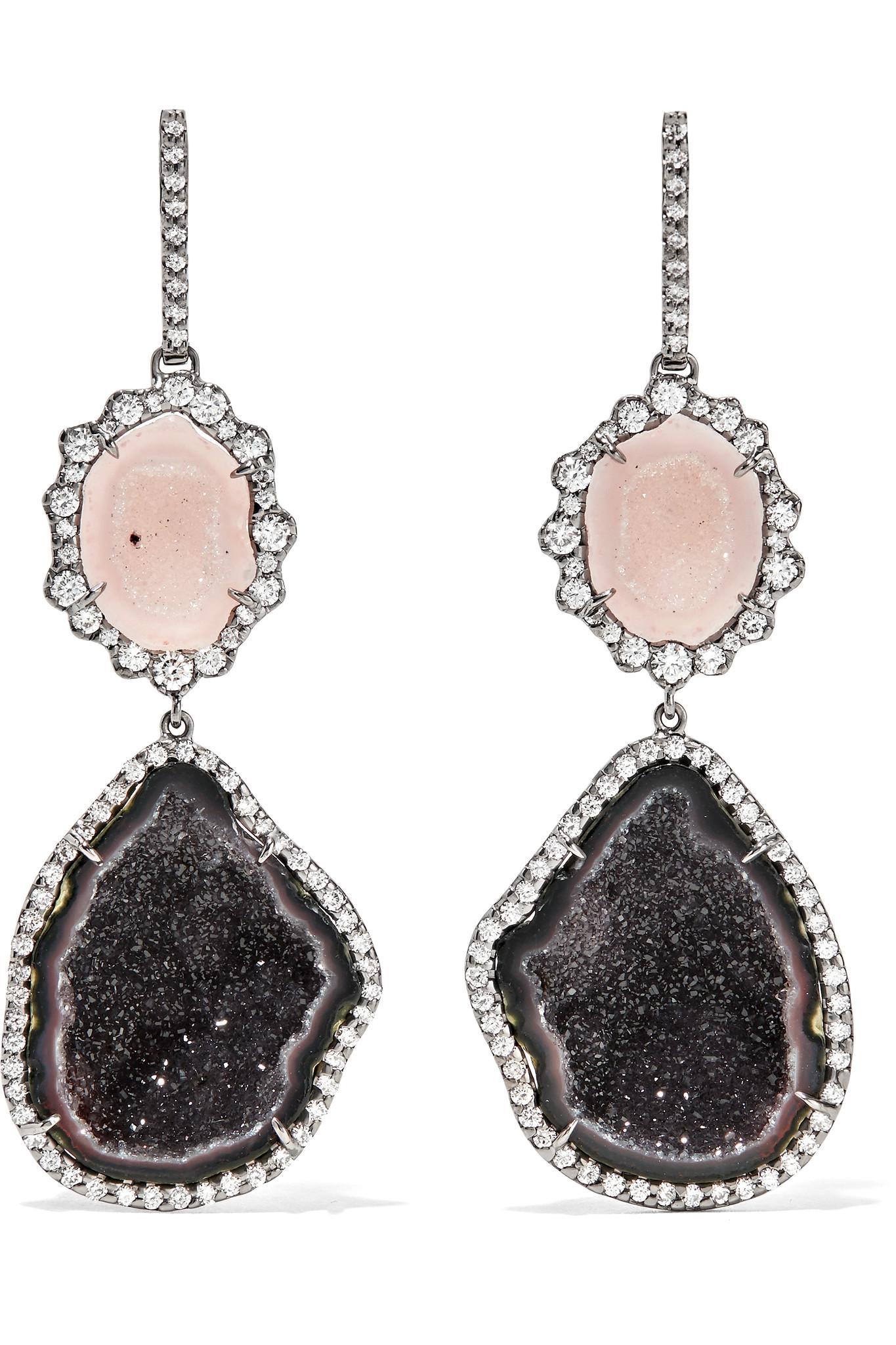 18-karat Blackened White Gold, Diamond And Geode Earrings - one size Kimberly McDonald