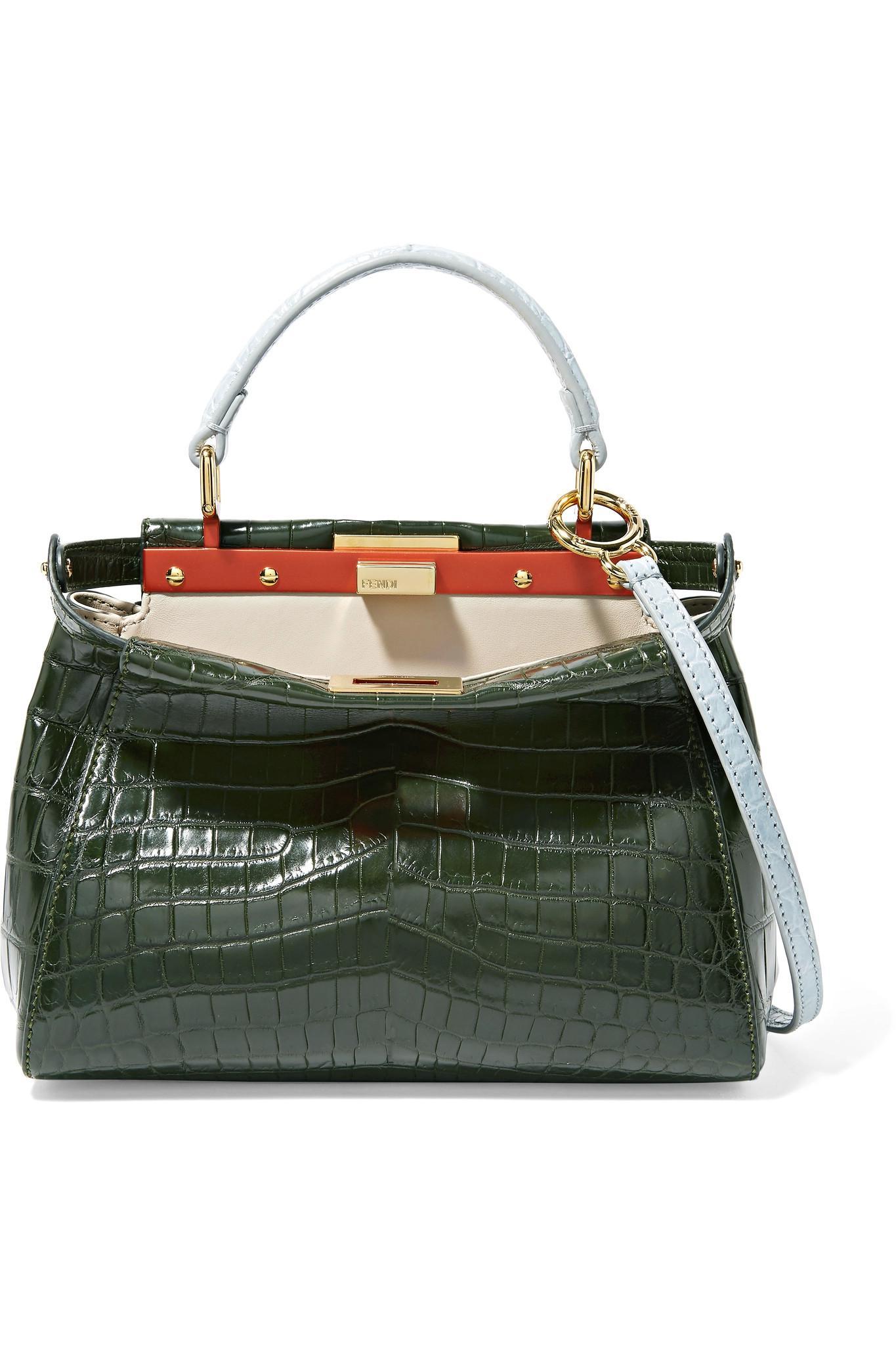 Lyst - Fendi Peekaboo Mini Crocodile Shoulder Bag in Green 2515fd58c7a7e