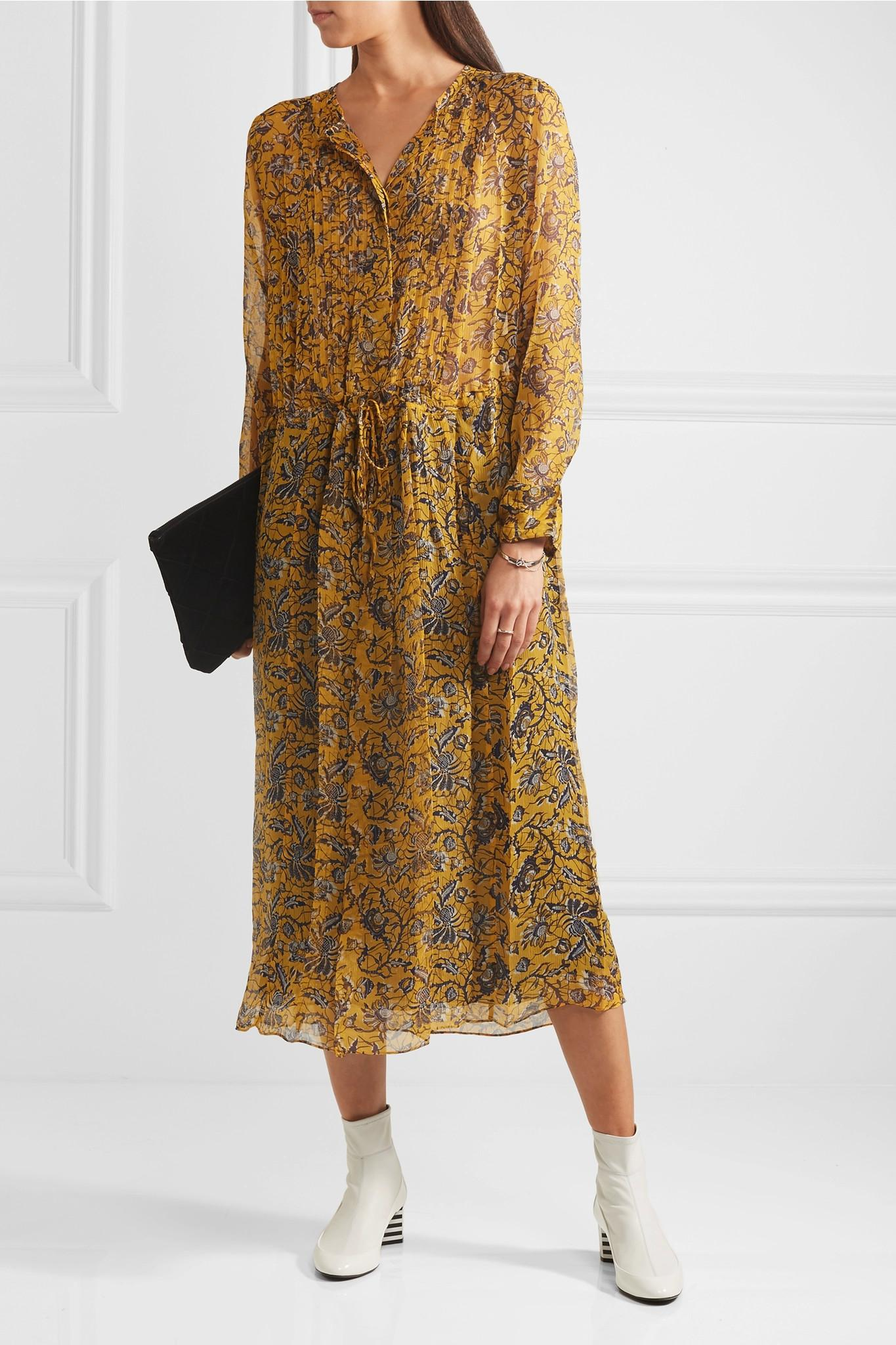 lyst toile isabel marant baphir printed silk midi dress. Black Bedroom Furniture Sets. Home Design Ideas