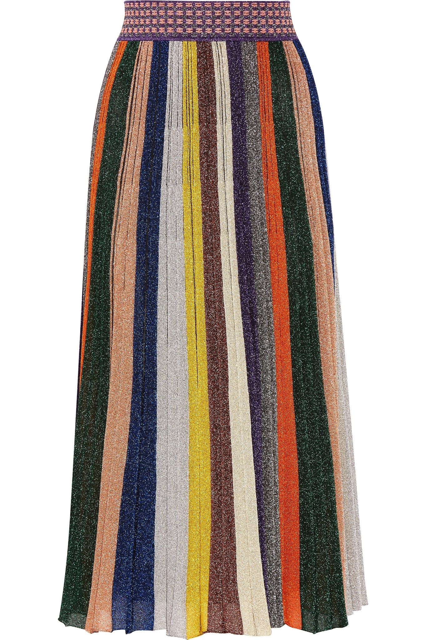 Lyst Missoni Pleated Metallic Striped Knitted Skirt In