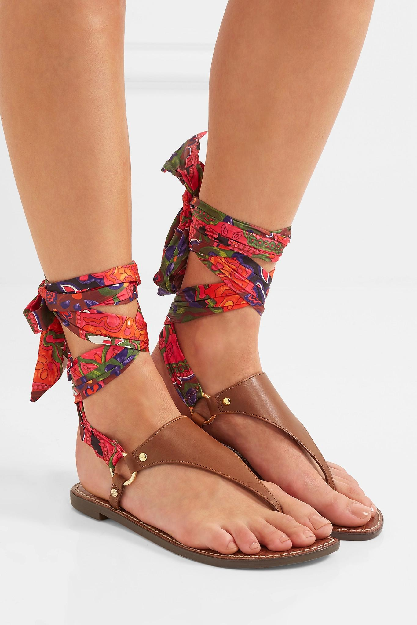 e94a88c83f12d0 Lyst - Sam Edelman Giliana Leather And Printed Satin Sandals in Brown