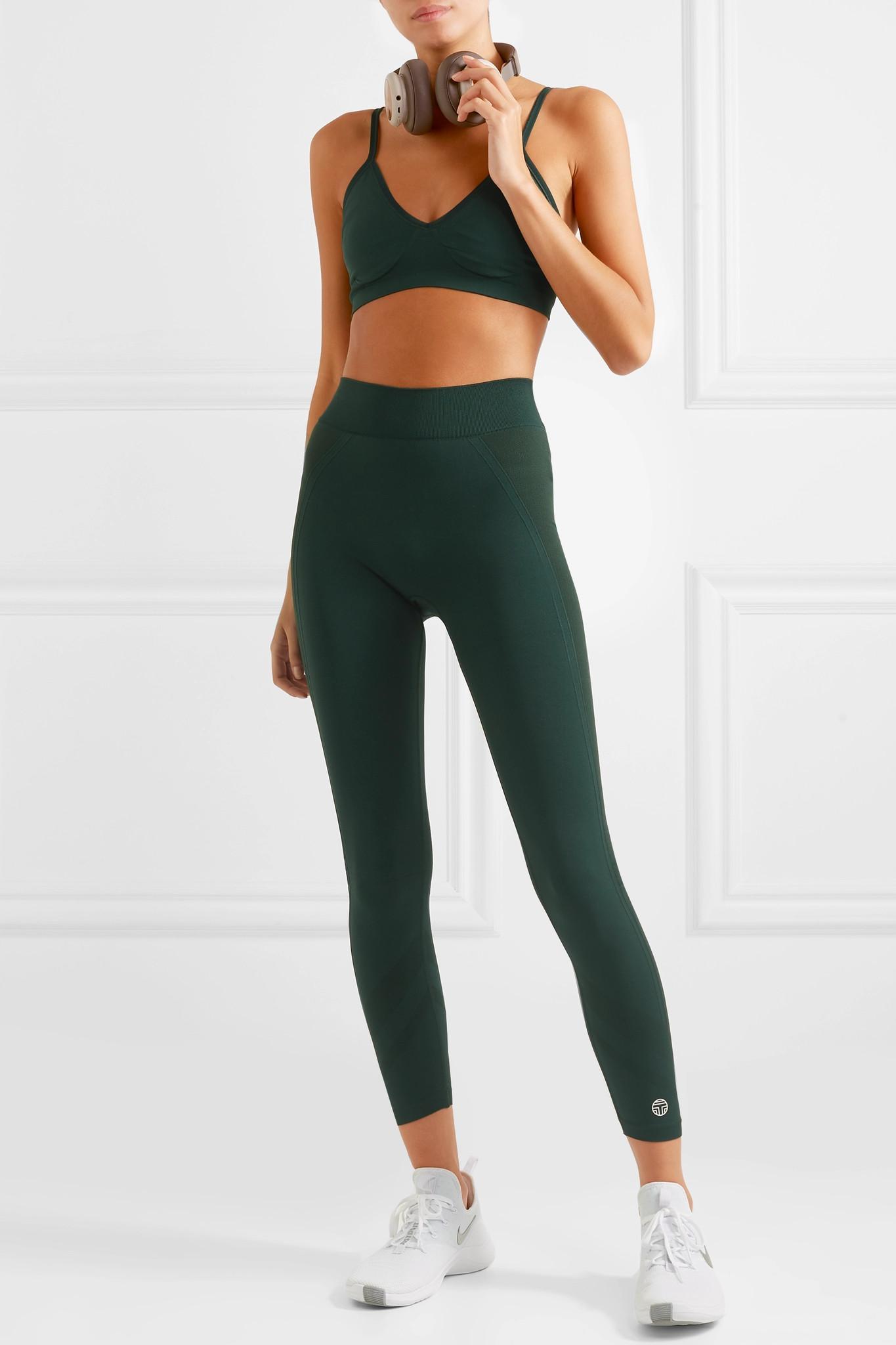5de8263e22fc89 Tory Sport - Green Cropped Stretch-jersey Leggings - Lyst. View fullscreen