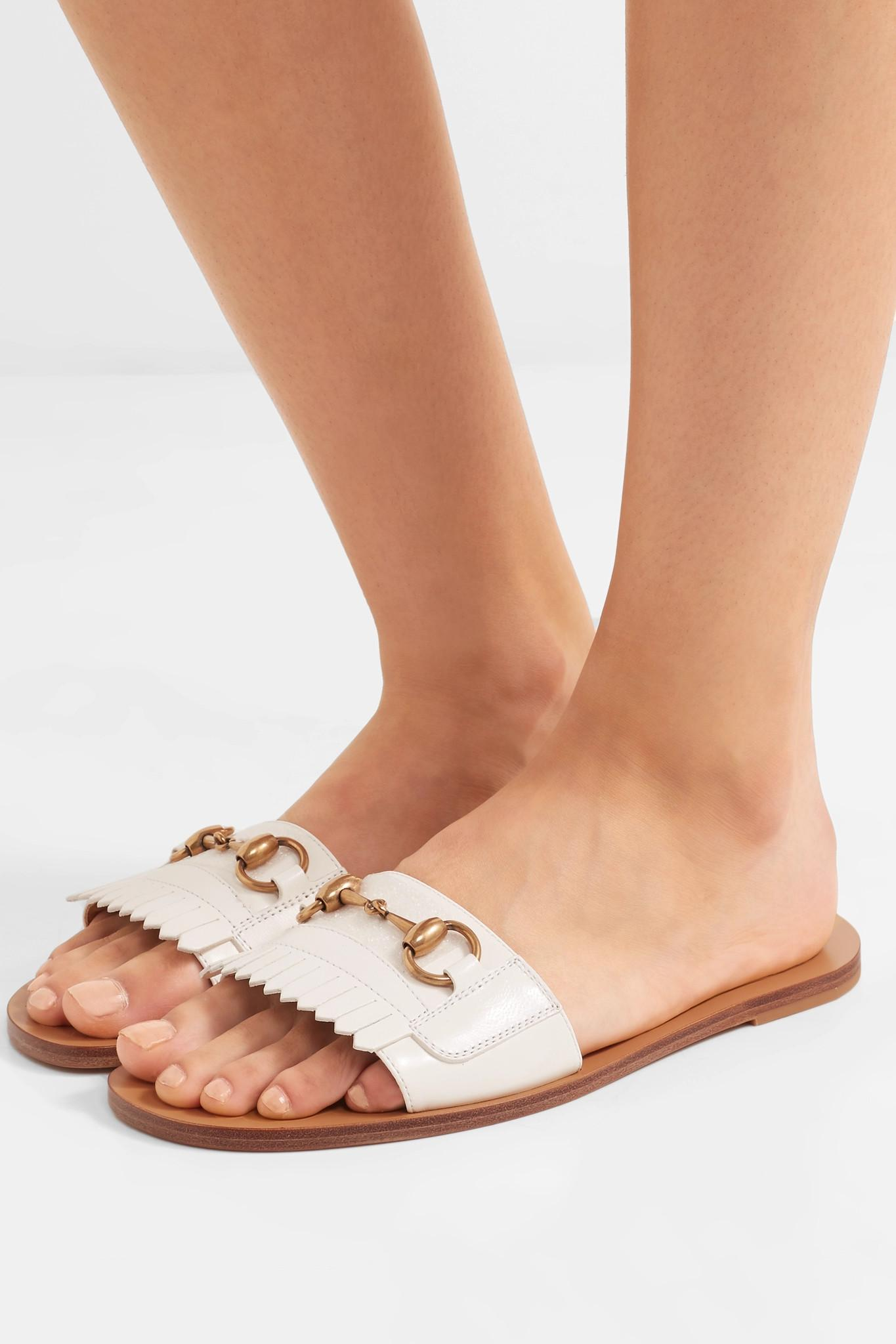 c0ef589ce80 Gucci - White Horsebit-detailed Fringed Leather Slides - Lyst. View  fullscreen